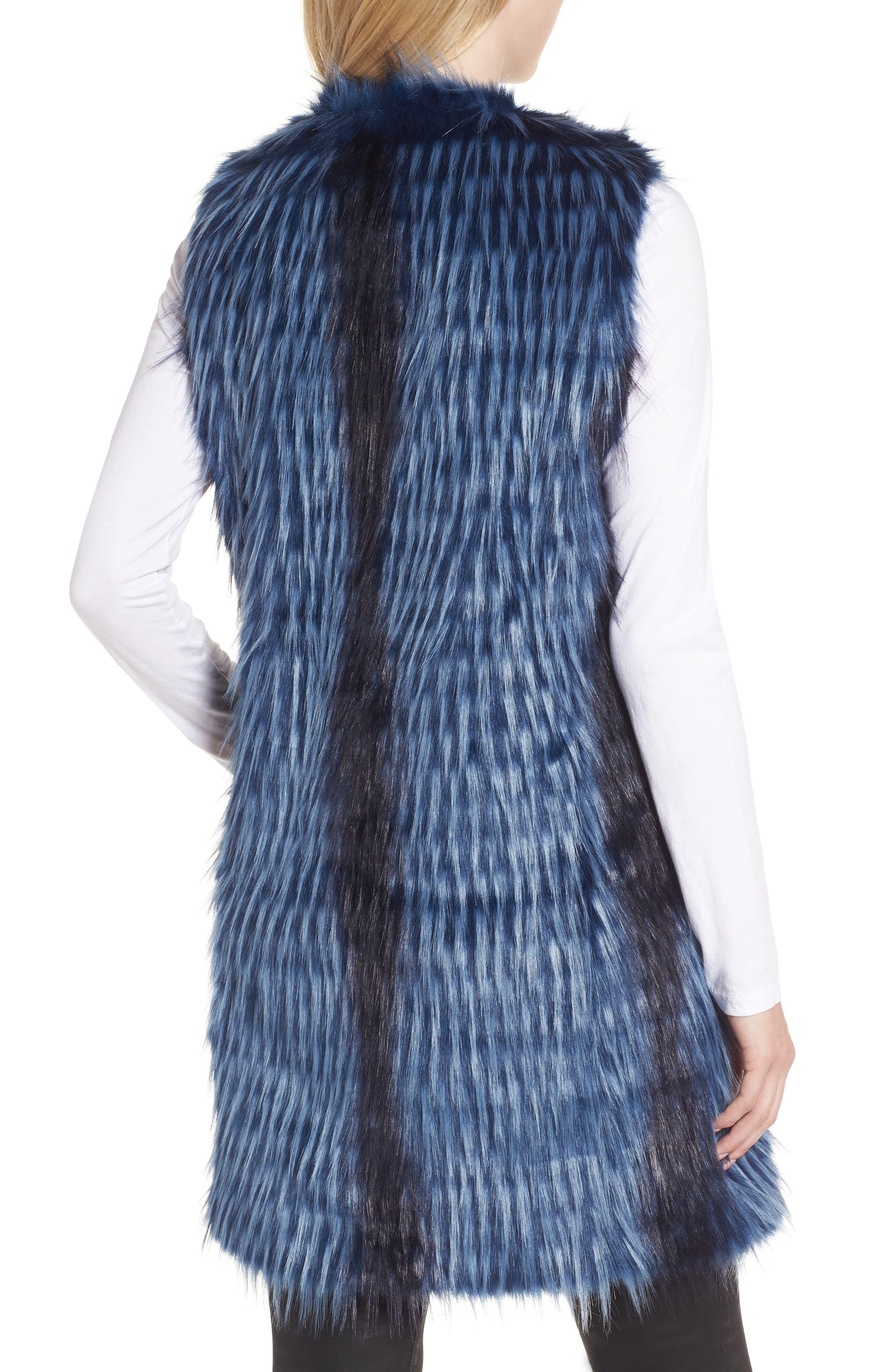 Dion Faux Fur Vest,                             Alternate thumbnail 2, color,                             Blue