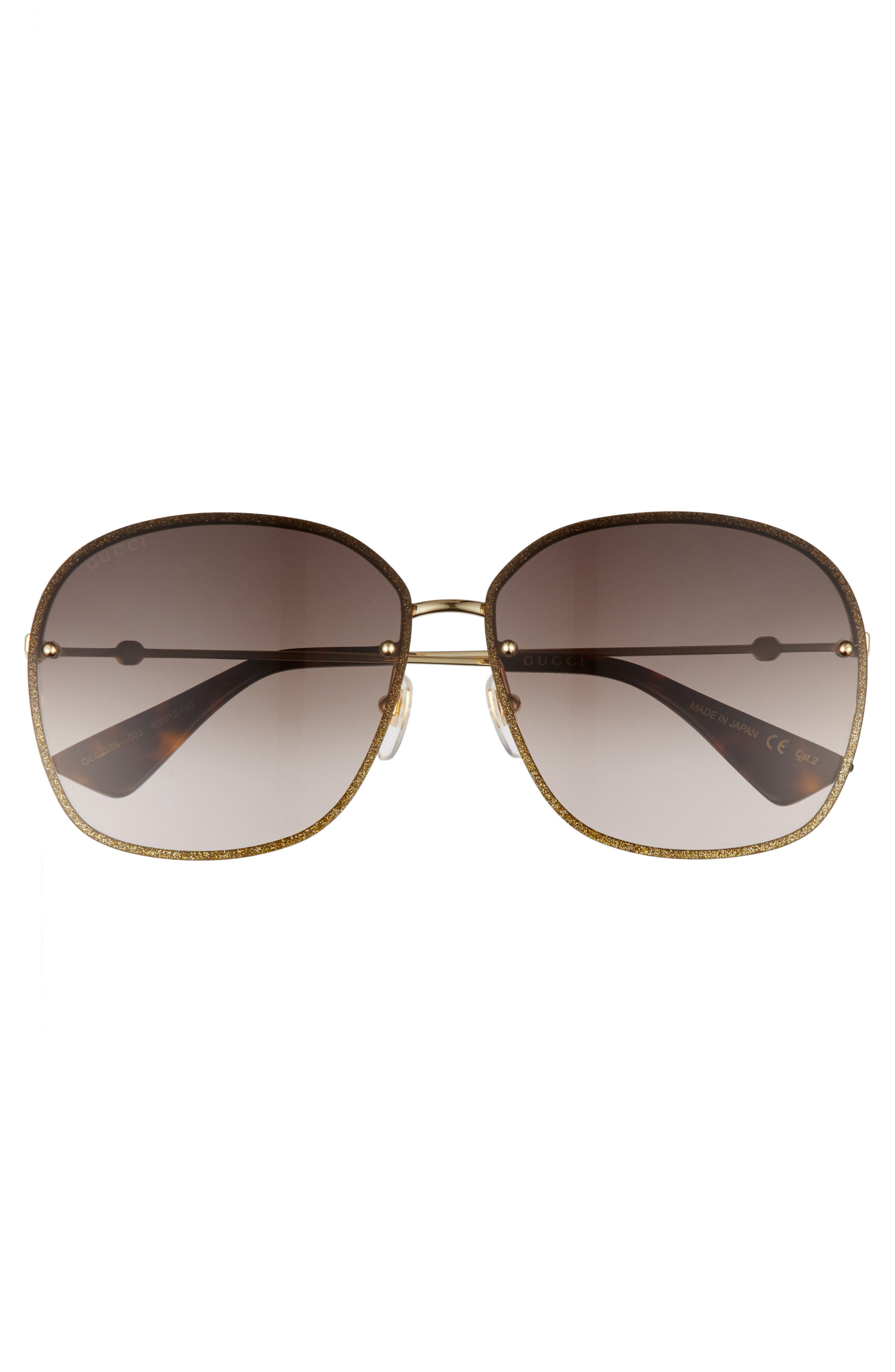 63mm Oversize Square Sunglasses,                             Alternate thumbnail 3, color,                             Gold/ Brown