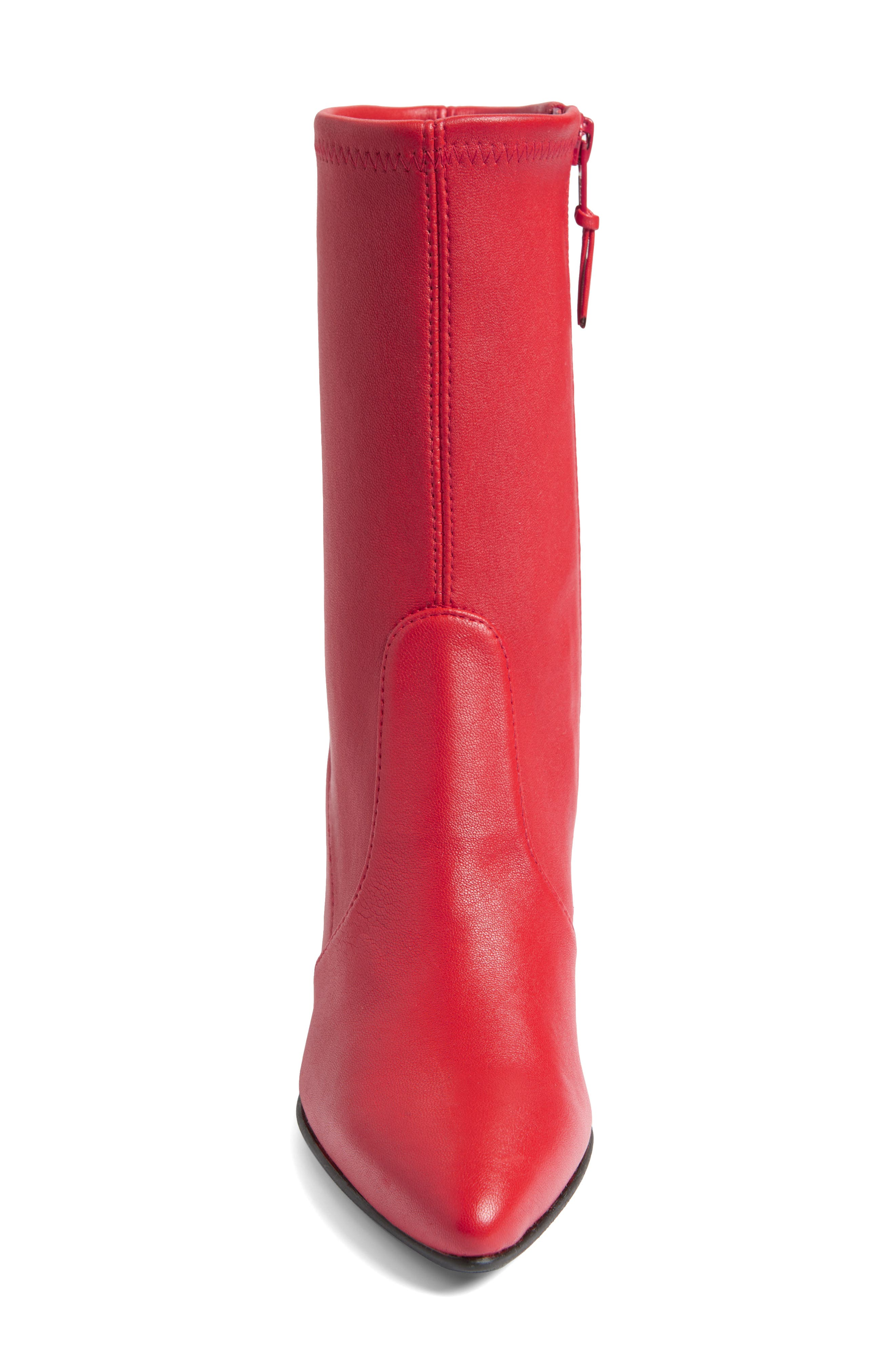 Cling Stretch Bootie,                             Alternate thumbnail 4, color,                             Red Plonge Stretch