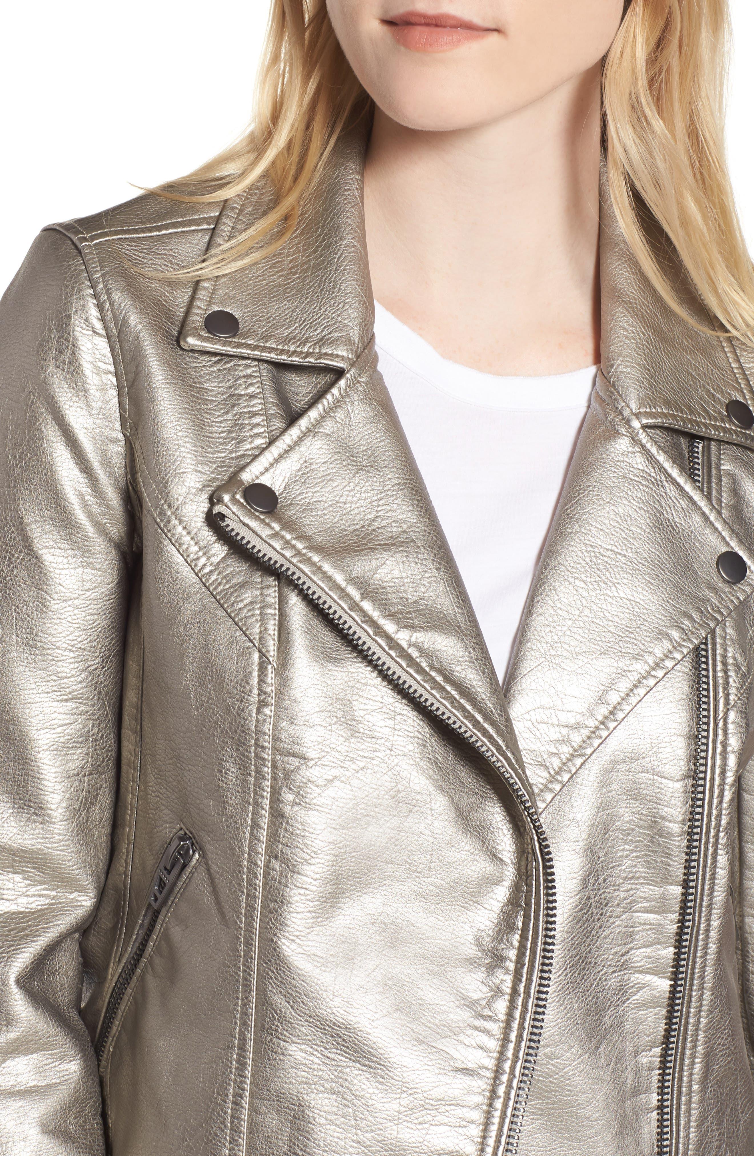 Life Changer Moto Jacket,                             Alternate thumbnail 4, color,                             Silver Mine