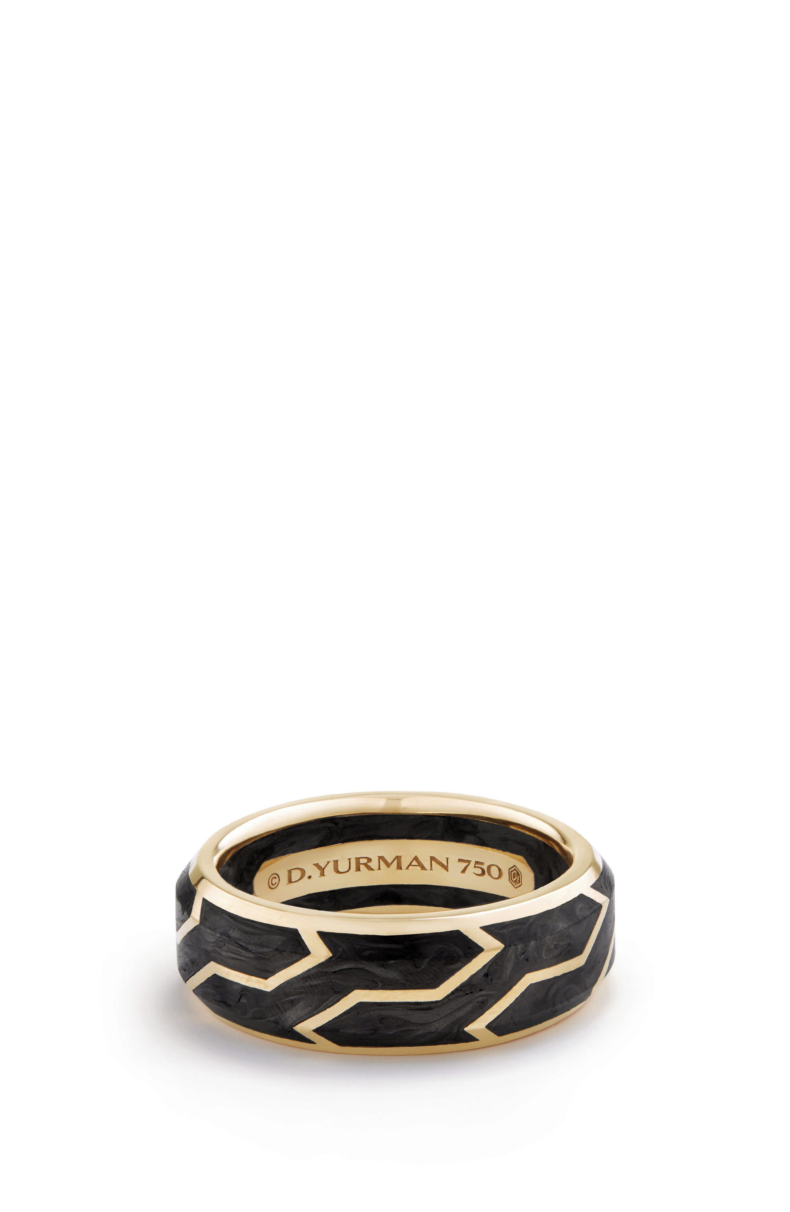 Forged Carbon Band Ring in 18K Gold, 8.5mm,                             Main thumbnail 1, color,                             Forged Carbon