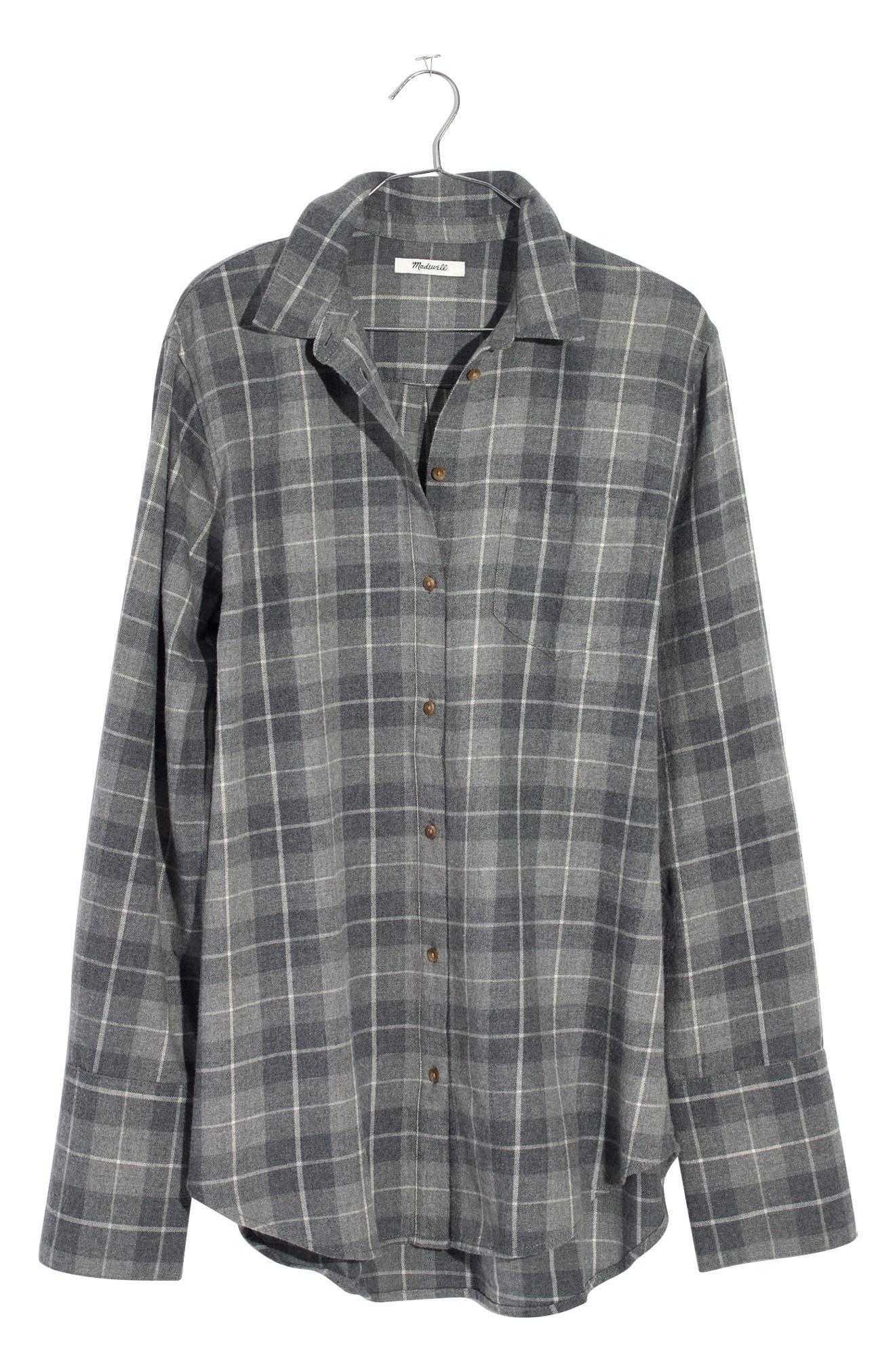 Bristol Plaid Flannel Shirt,                             Alternate thumbnail 3, color,                             Steel Morning