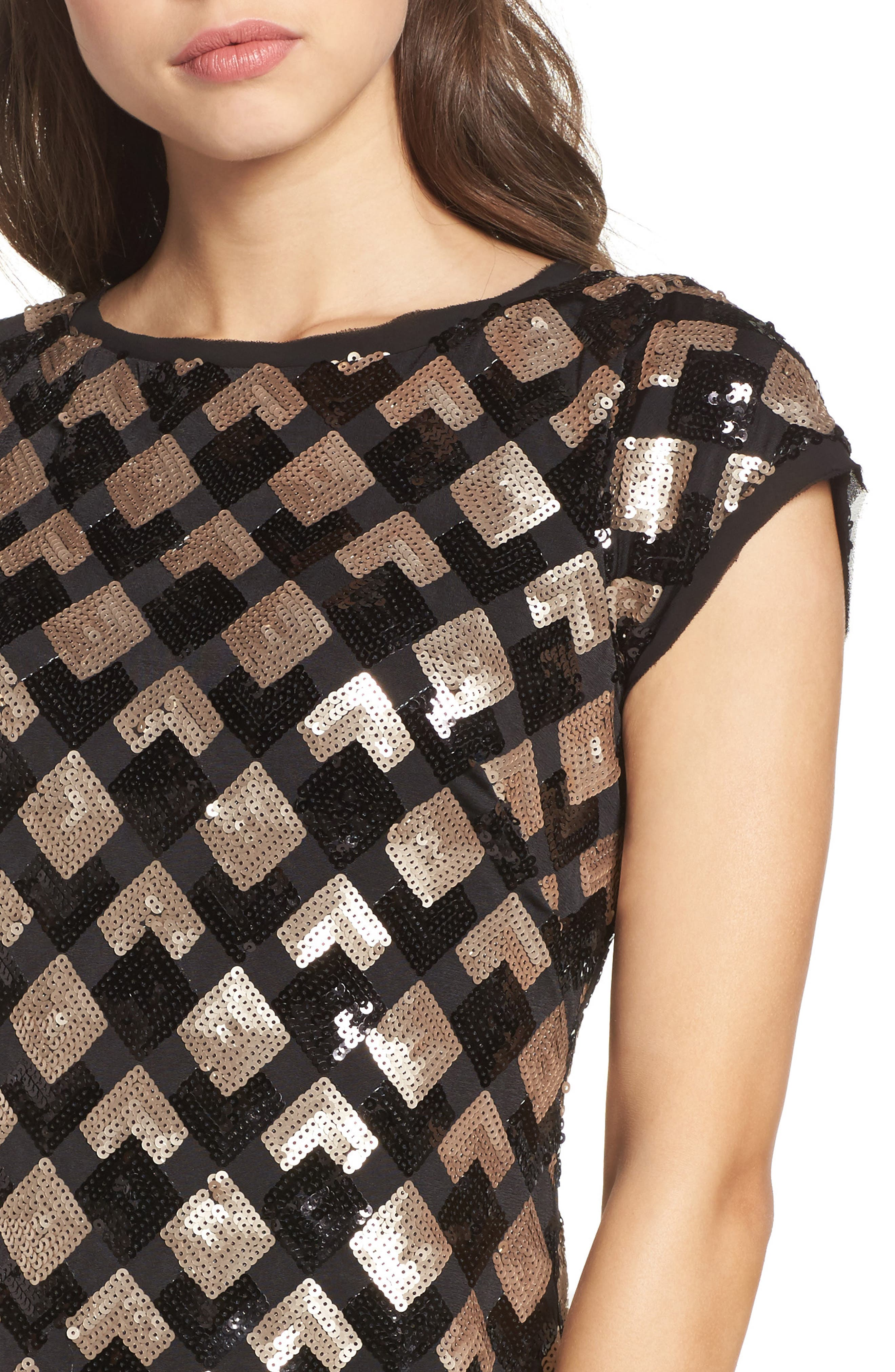 Sequin Sheath Dress,                             Alternate thumbnail 4, color,                             Black/ Champagne