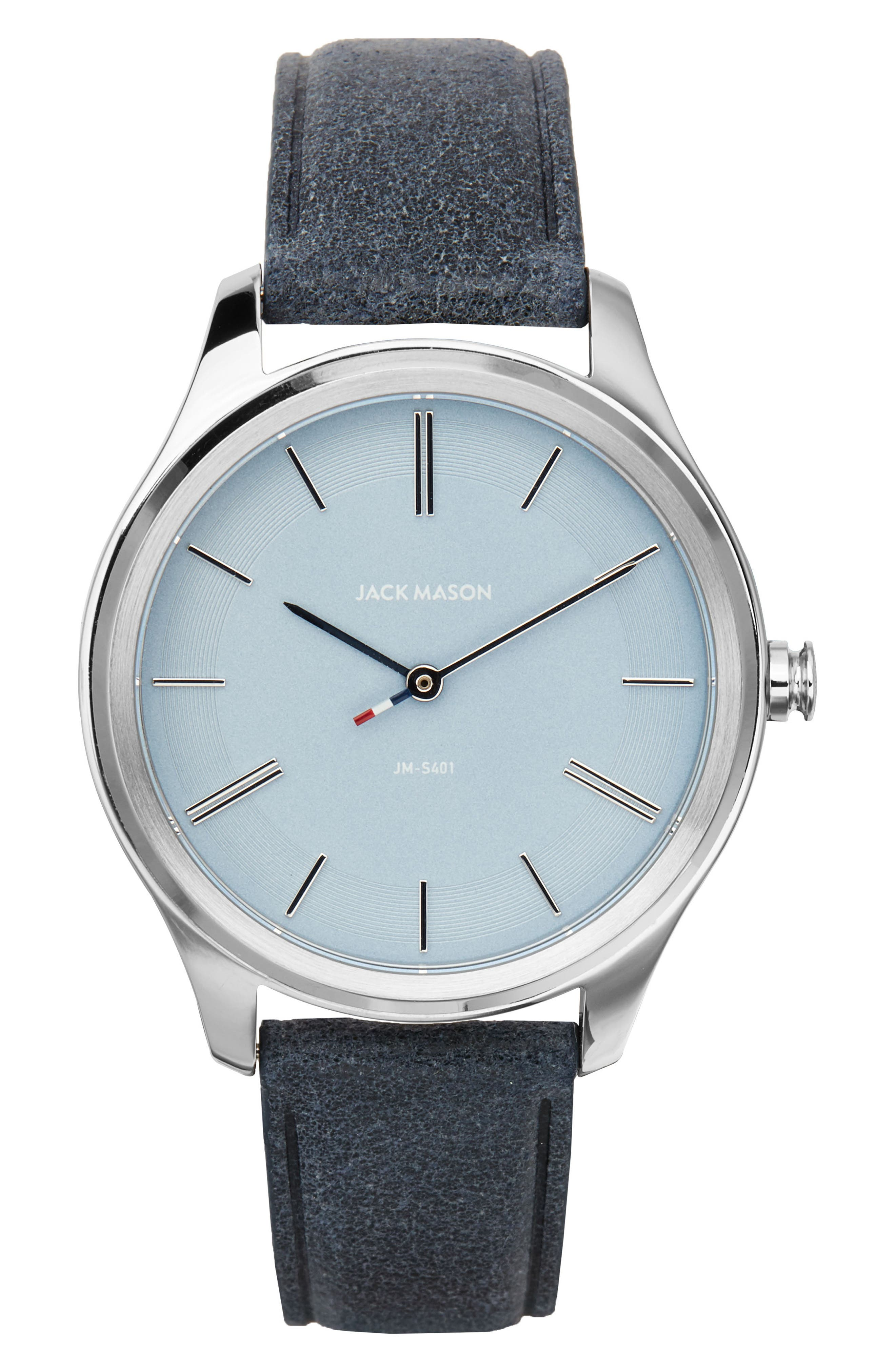 Slim Leather Strap Watch, 38mm,                             Main thumbnail 1, color,                             Navy/ Blue/ Silver