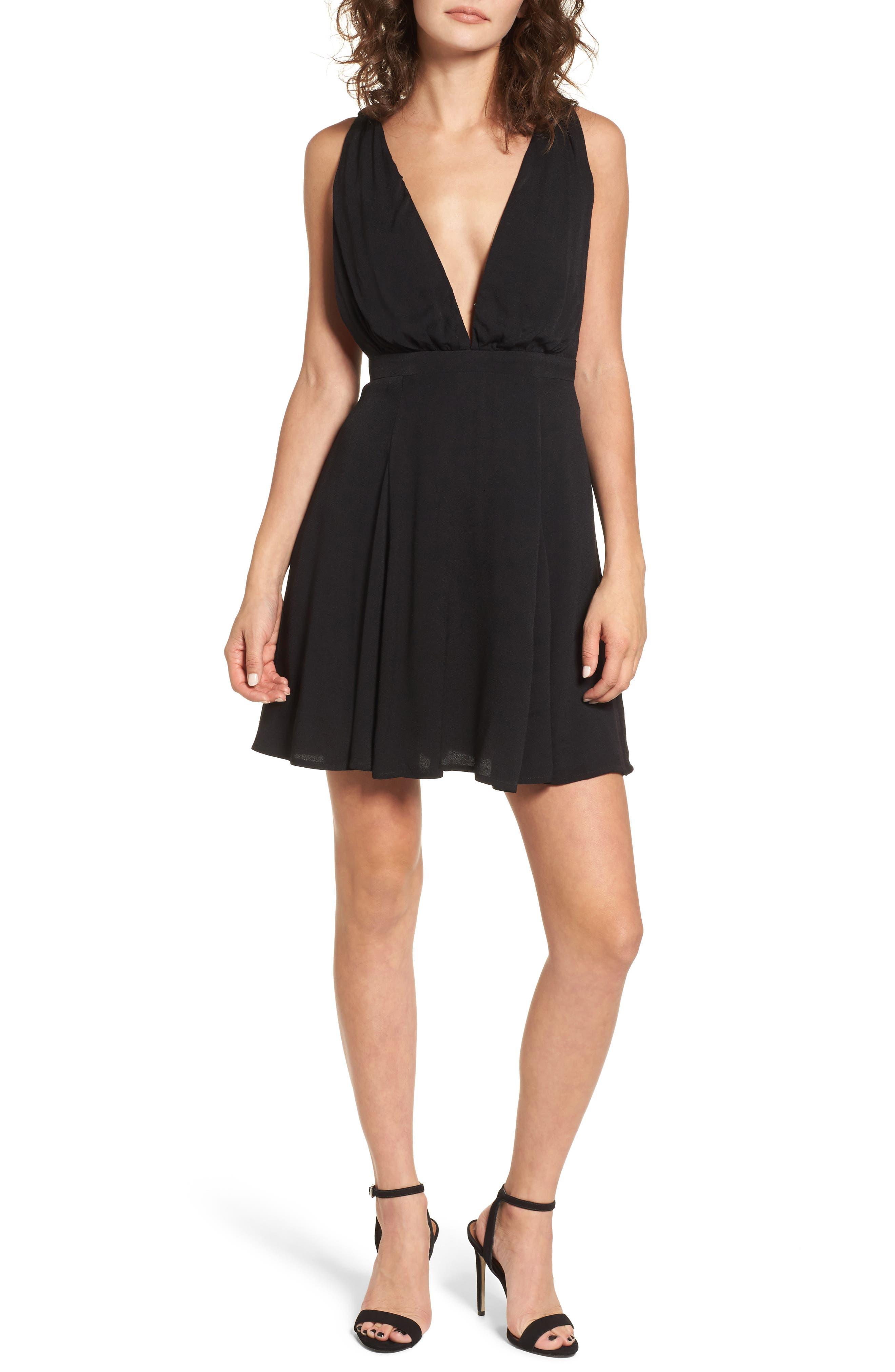 Stevie Fit & Flare Minidress,                         Main,                         color, Noir