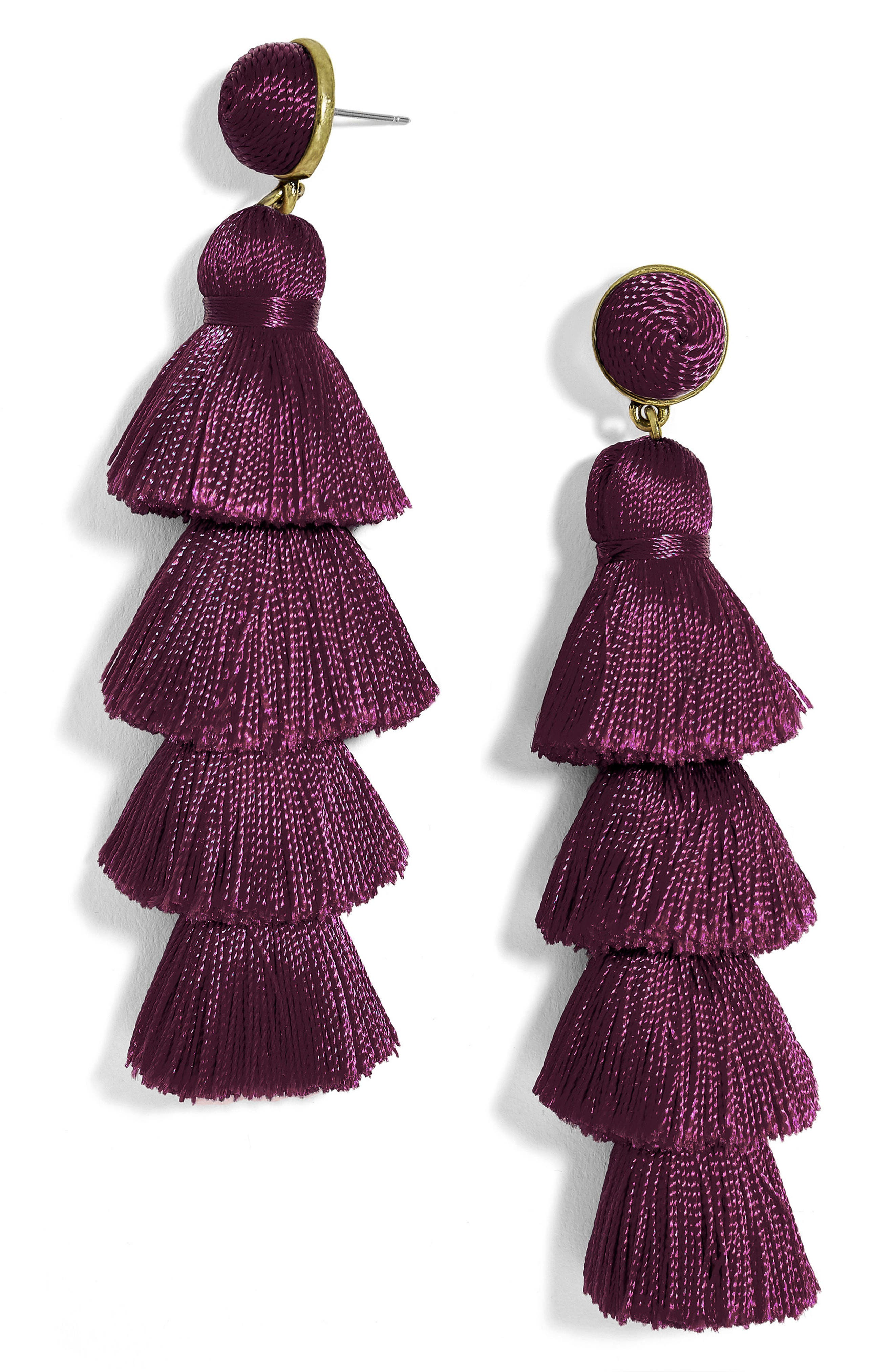 Gabriela Tassel Fringe Earrings,                             Main thumbnail 1, color,                             Eggplant
