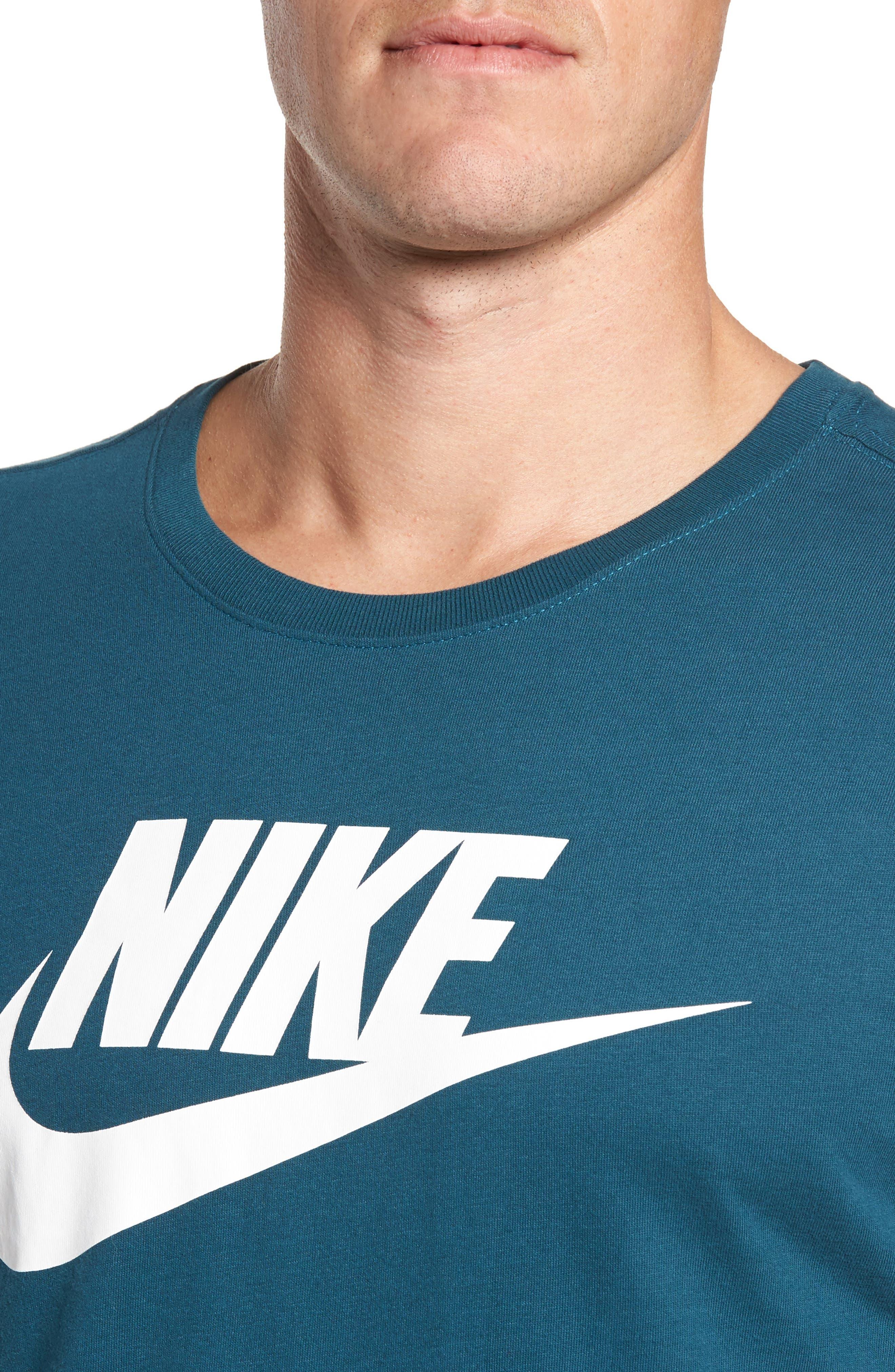 'Tee-Futura Icon' Graphic T-Shirt,                             Alternate thumbnail 4, color,                             Space Blue/ White