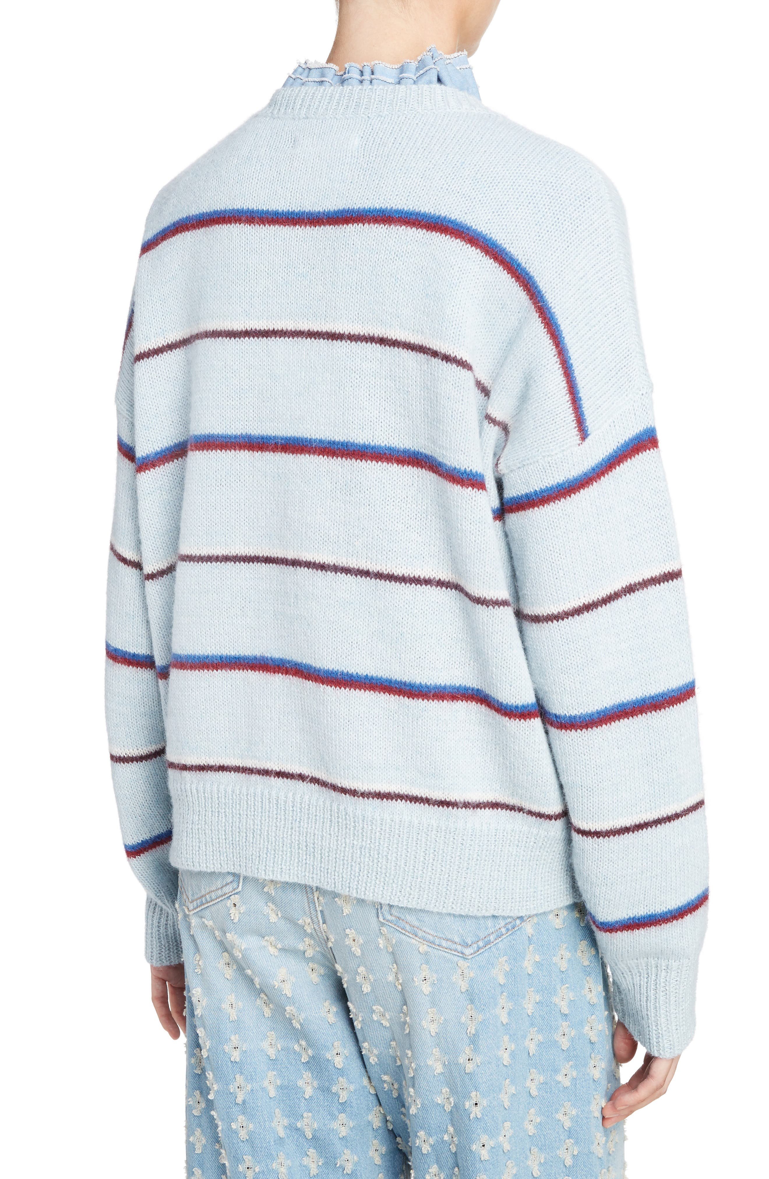 Isabel Marant Étoile Gatlin Stripe Alpaca Blend Sweater,                             Alternate thumbnail 2, color,                             Light Blue
