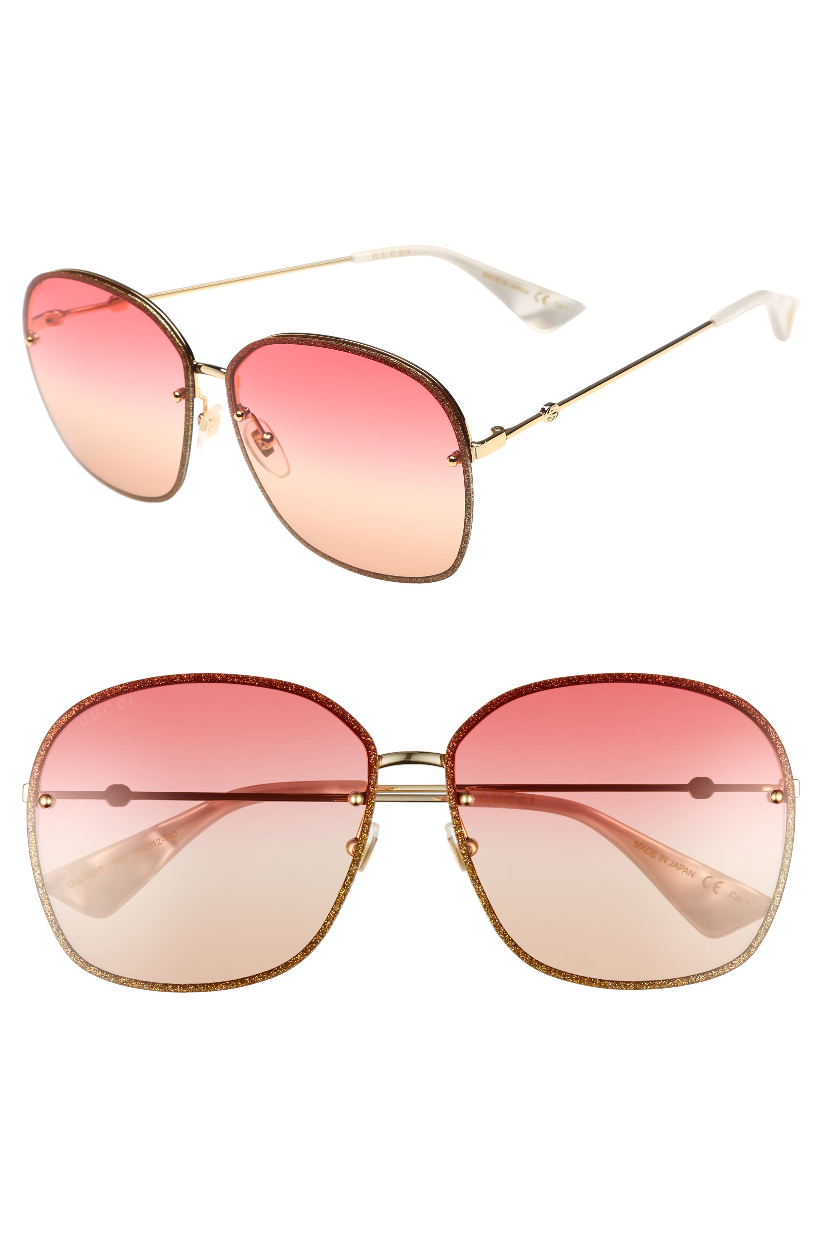 Alternate Image 1 Selected - Gucci 63mm Oversize Square Sunglasses