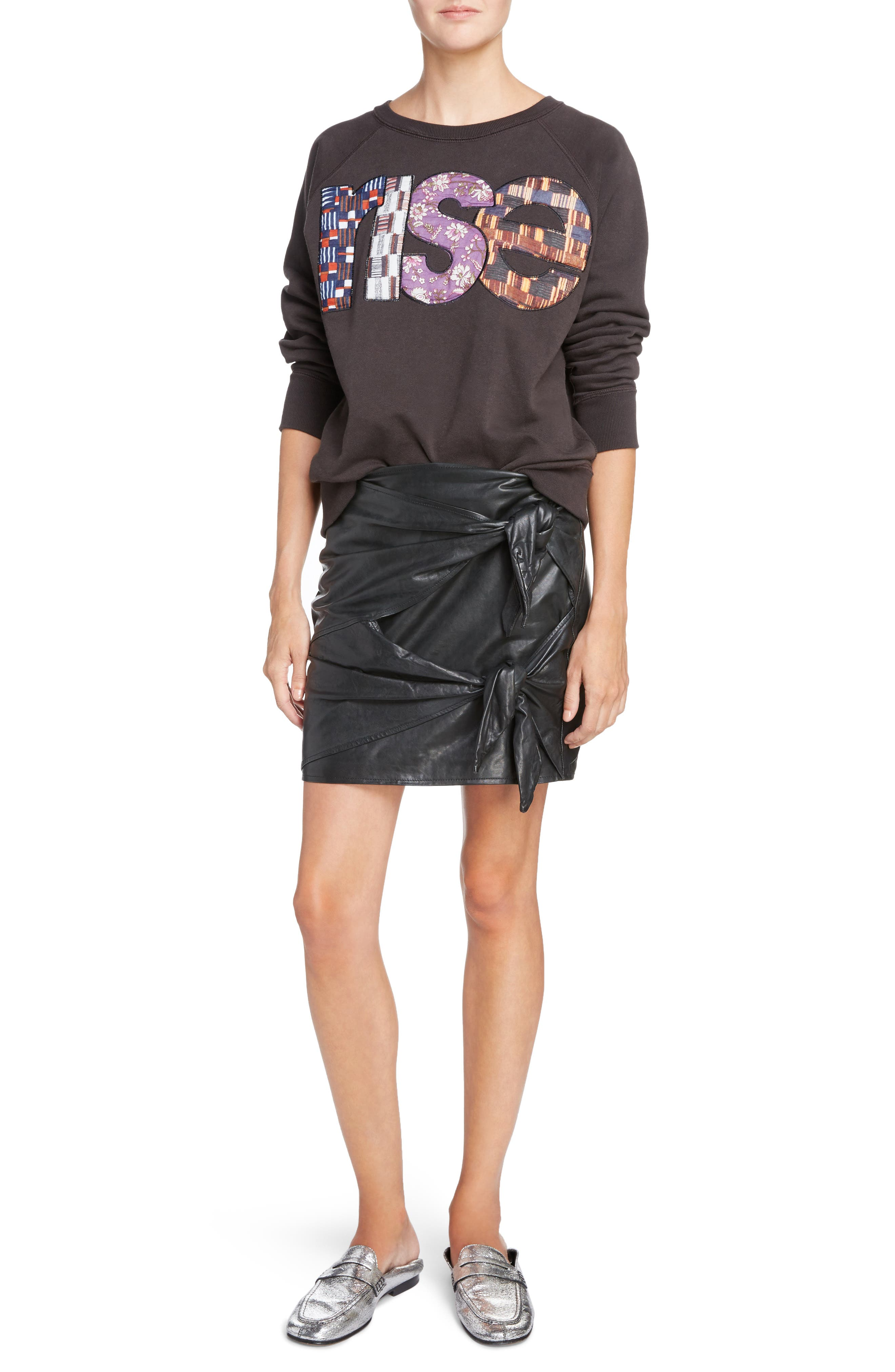 Isabel Marant Étoile Gritanny Tied Leather Skirt,                             Alternate thumbnail 6, color,                             Black