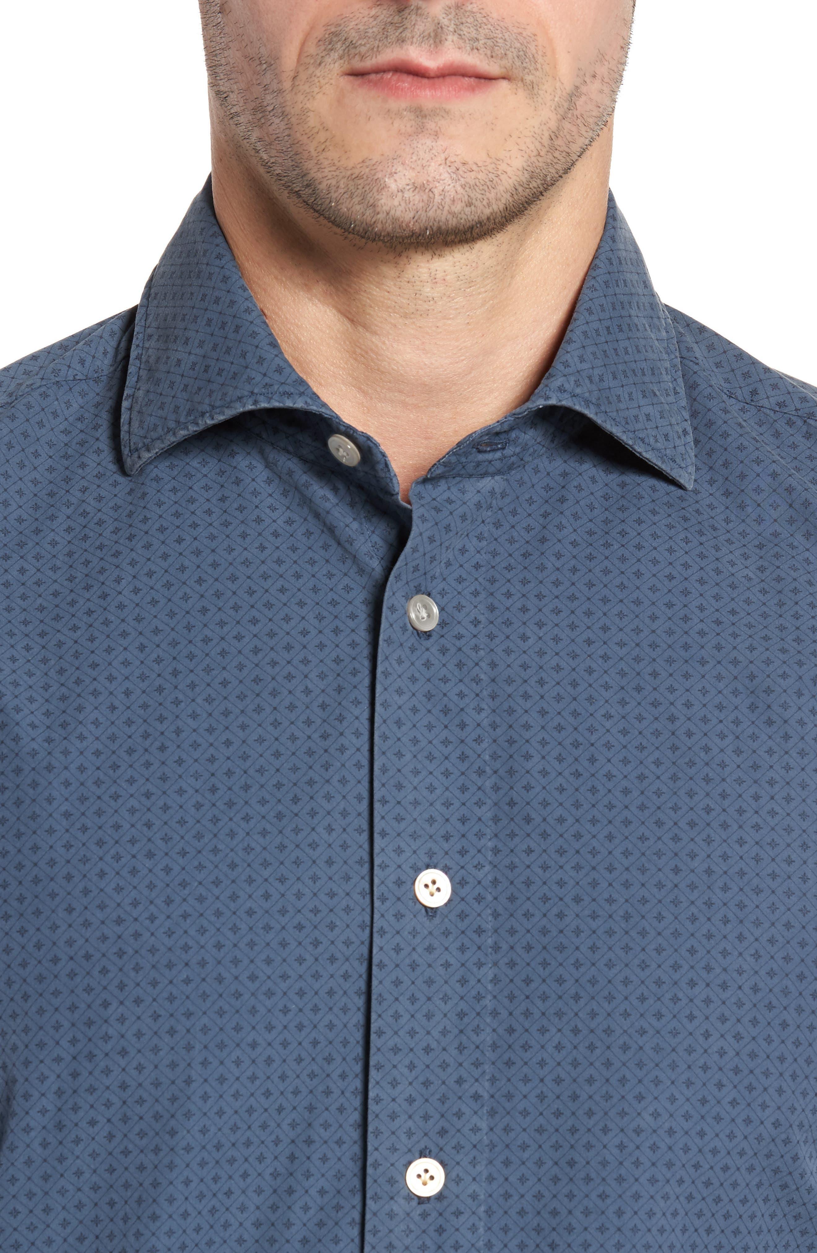 Classic Fit Diamond Print Sport Shirt,                             Alternate thumbnail 4, color,                             Blue