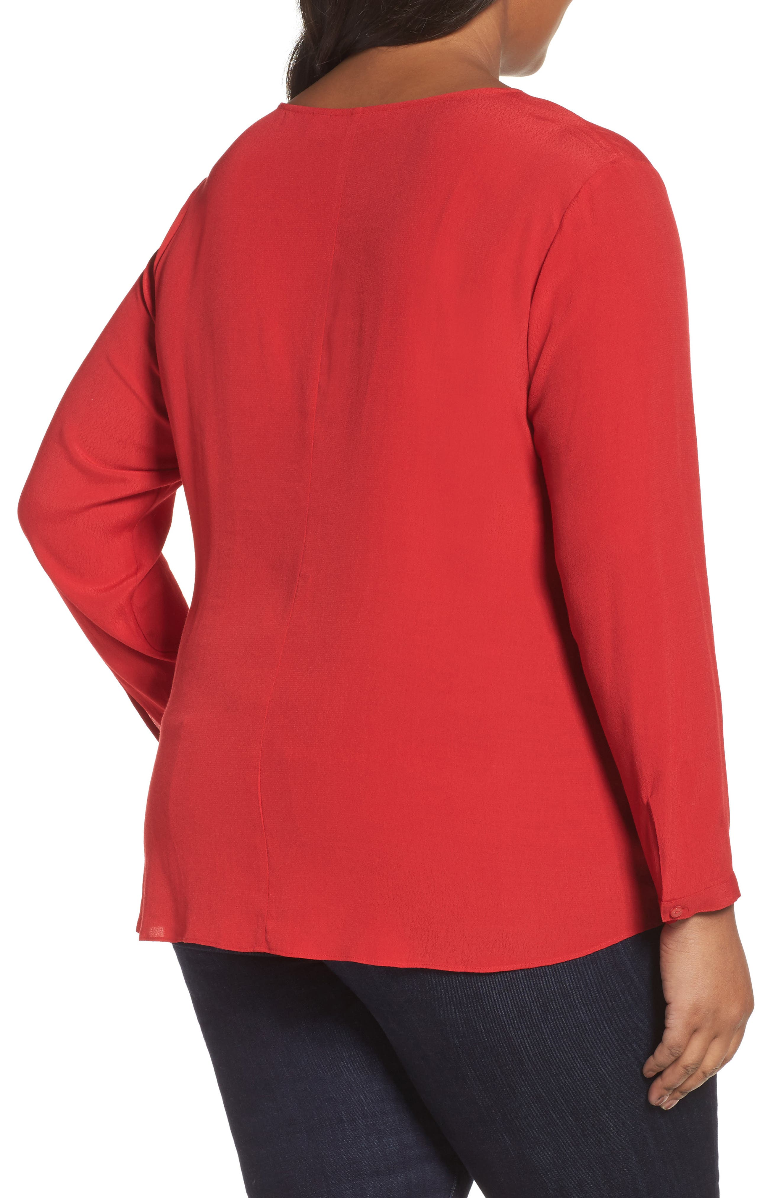 Side Tie Blouse,                             Alternate thumbnail 2, color,                             Red Sage