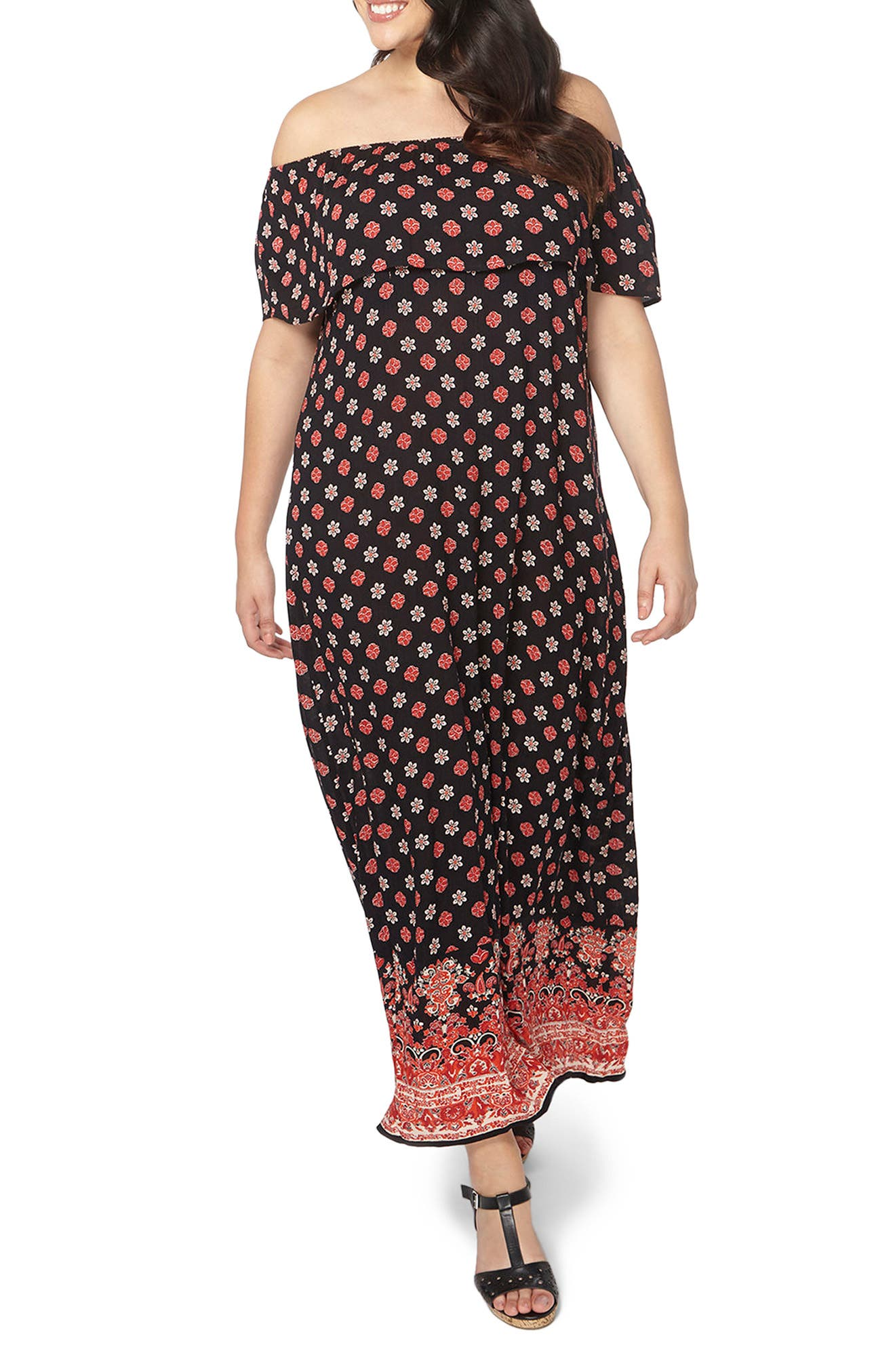 Border Print Maxi Dress,                             Main thumbnail 1, color,                             Dark Multi