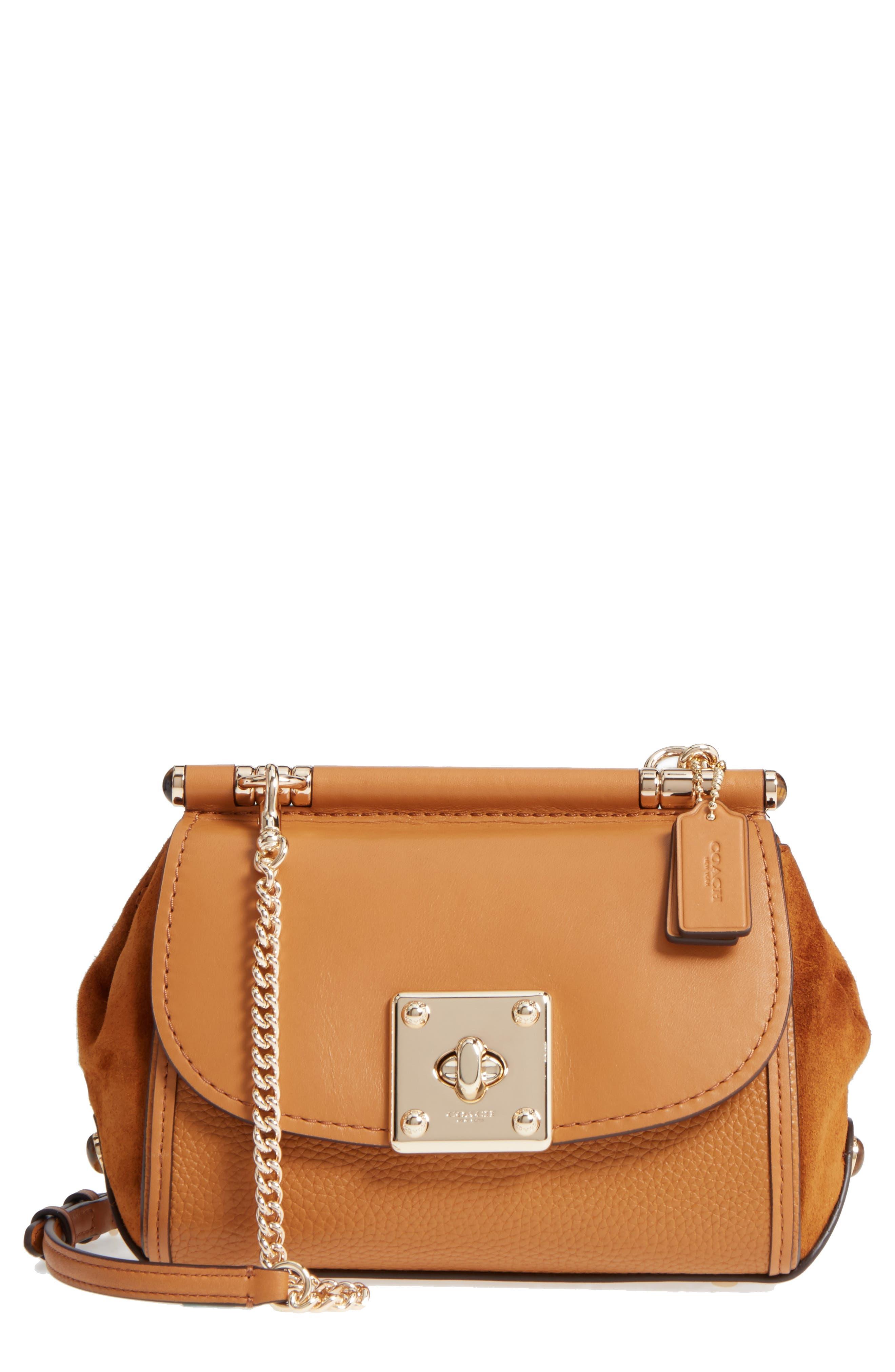 Mixed Leather Crossbody Bag,                             Main thumbnail 1, color,                             Light Saddle