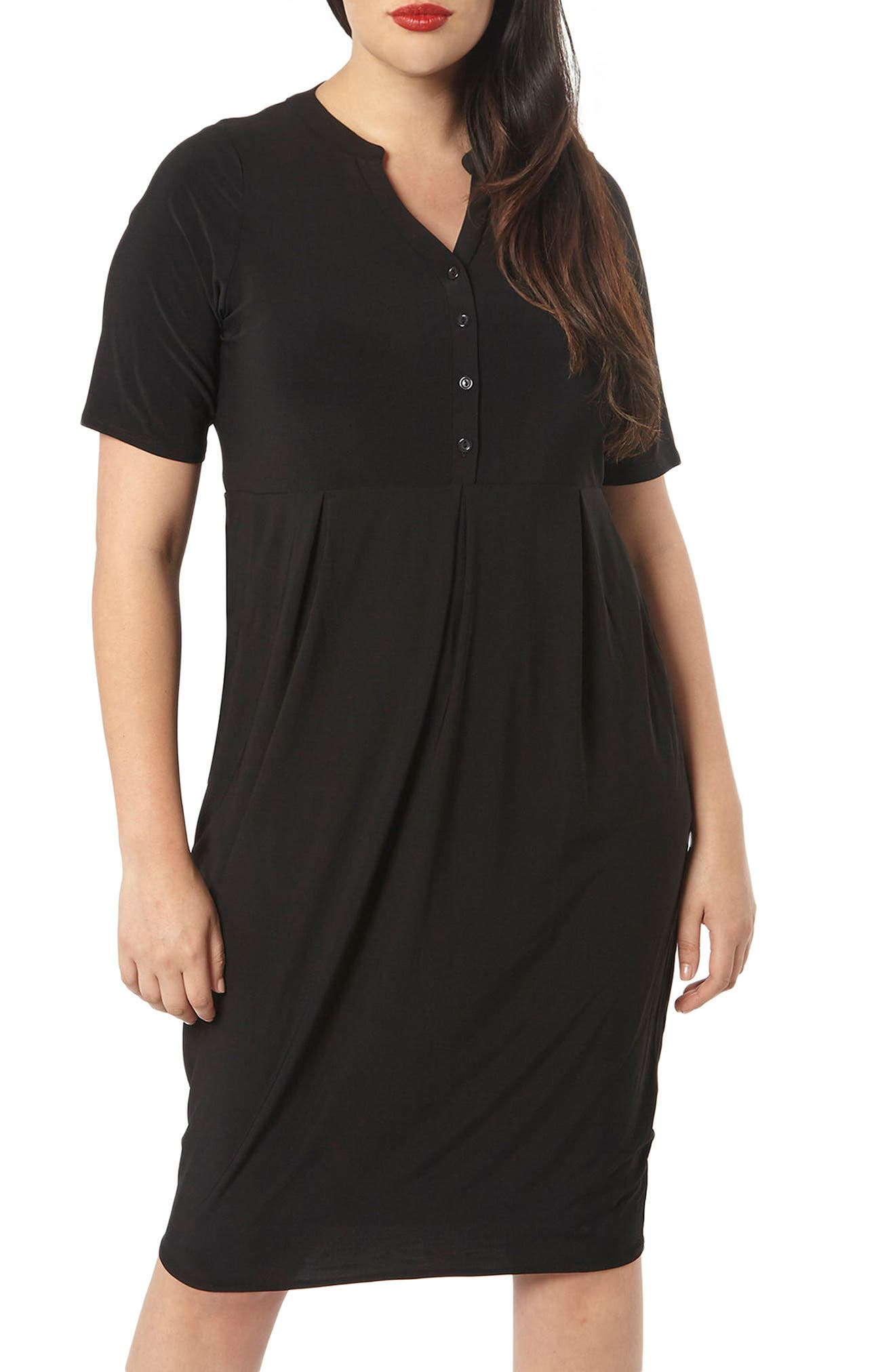 Alternate Image 1 Selected - Evans Pleat Jersey Dress (Plus Size)
