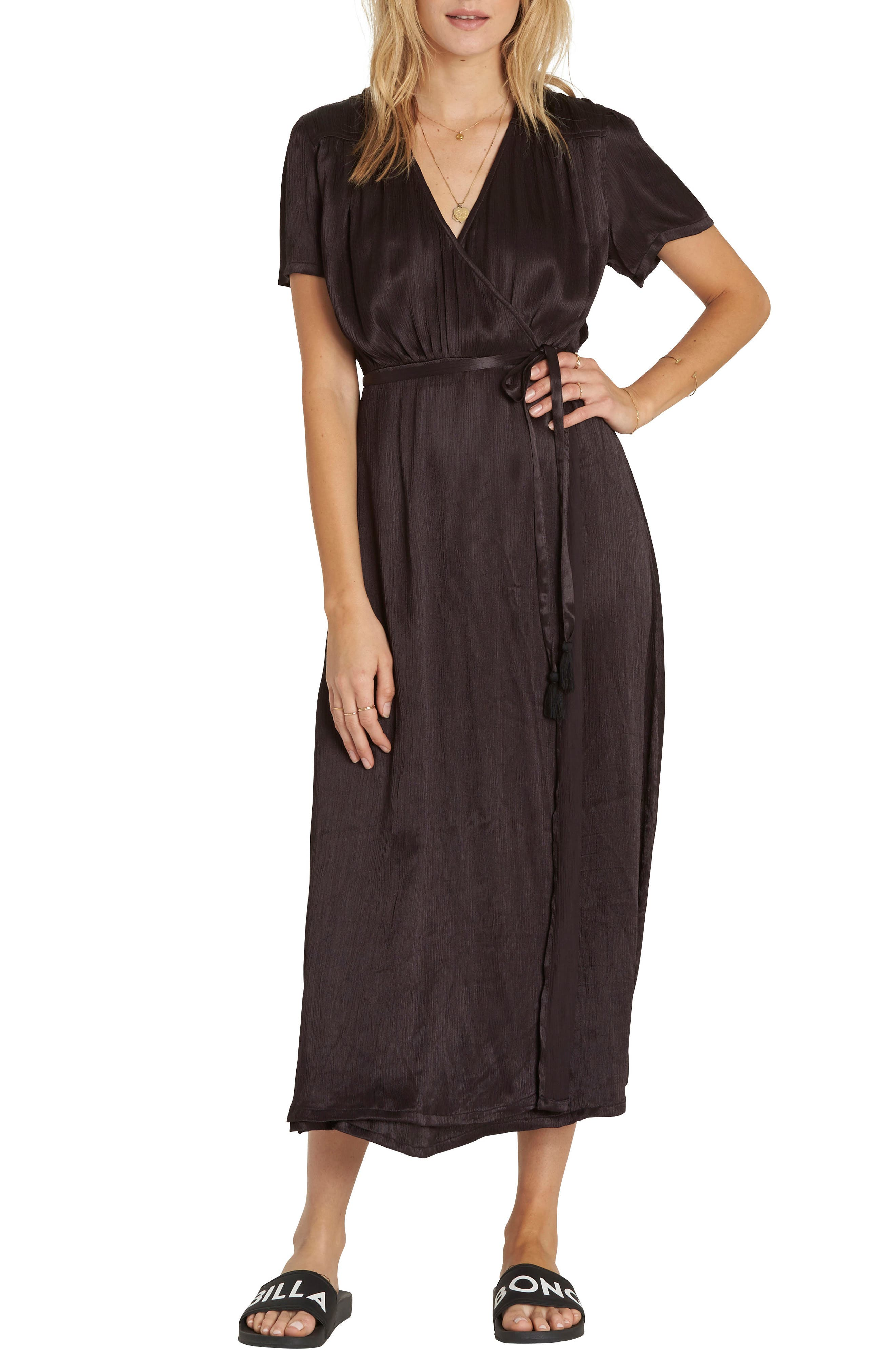 Weekend Wrap Dress,                         Main,                         color, Black