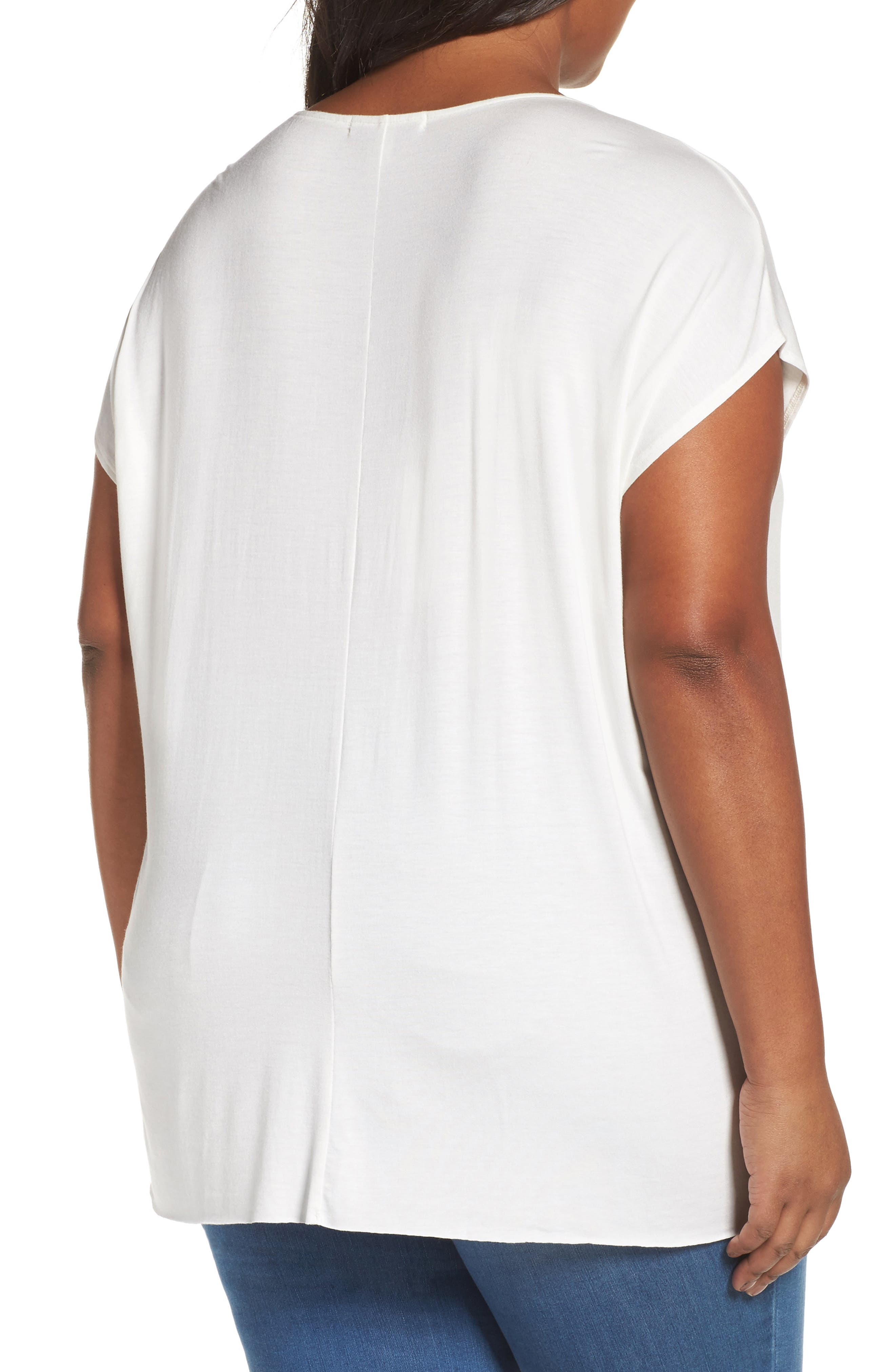 Pleat Front Tee,                             Alternate thumbnail 2, color,                             Ivory Cloud