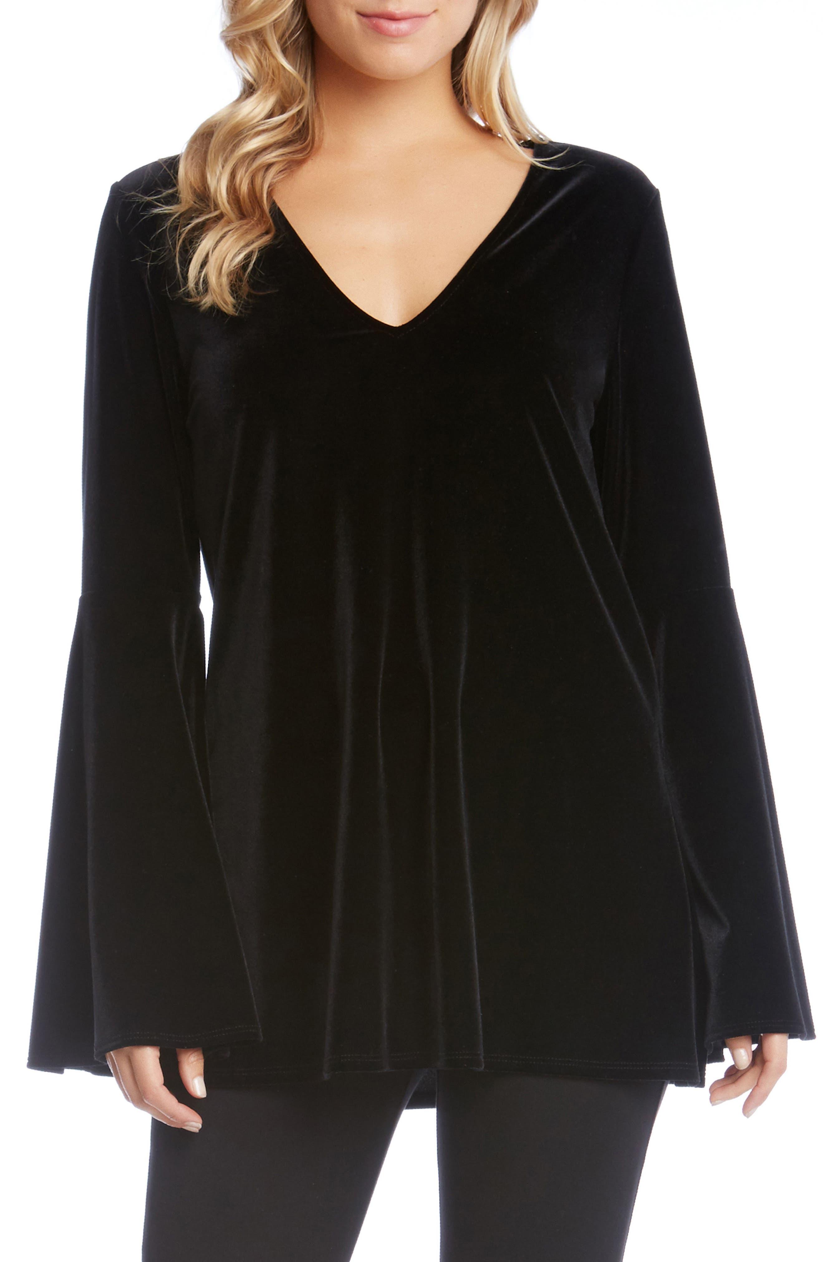 Karen Kane Bell Sleeve Velvet Top