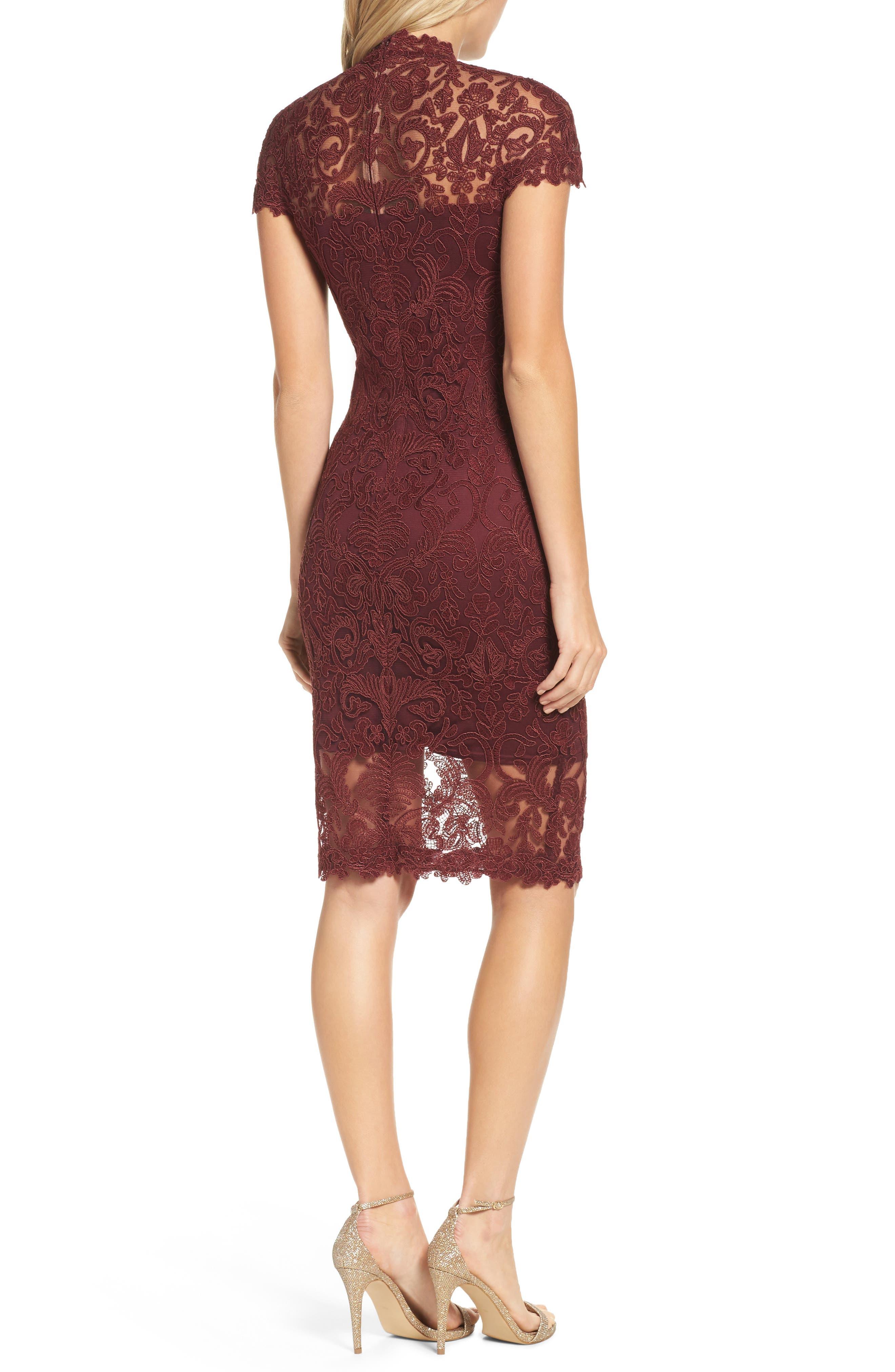 Mock Neck Corded Tulle Sheath Dress,                             Alternate thumbnail 2, color,                             Auburn