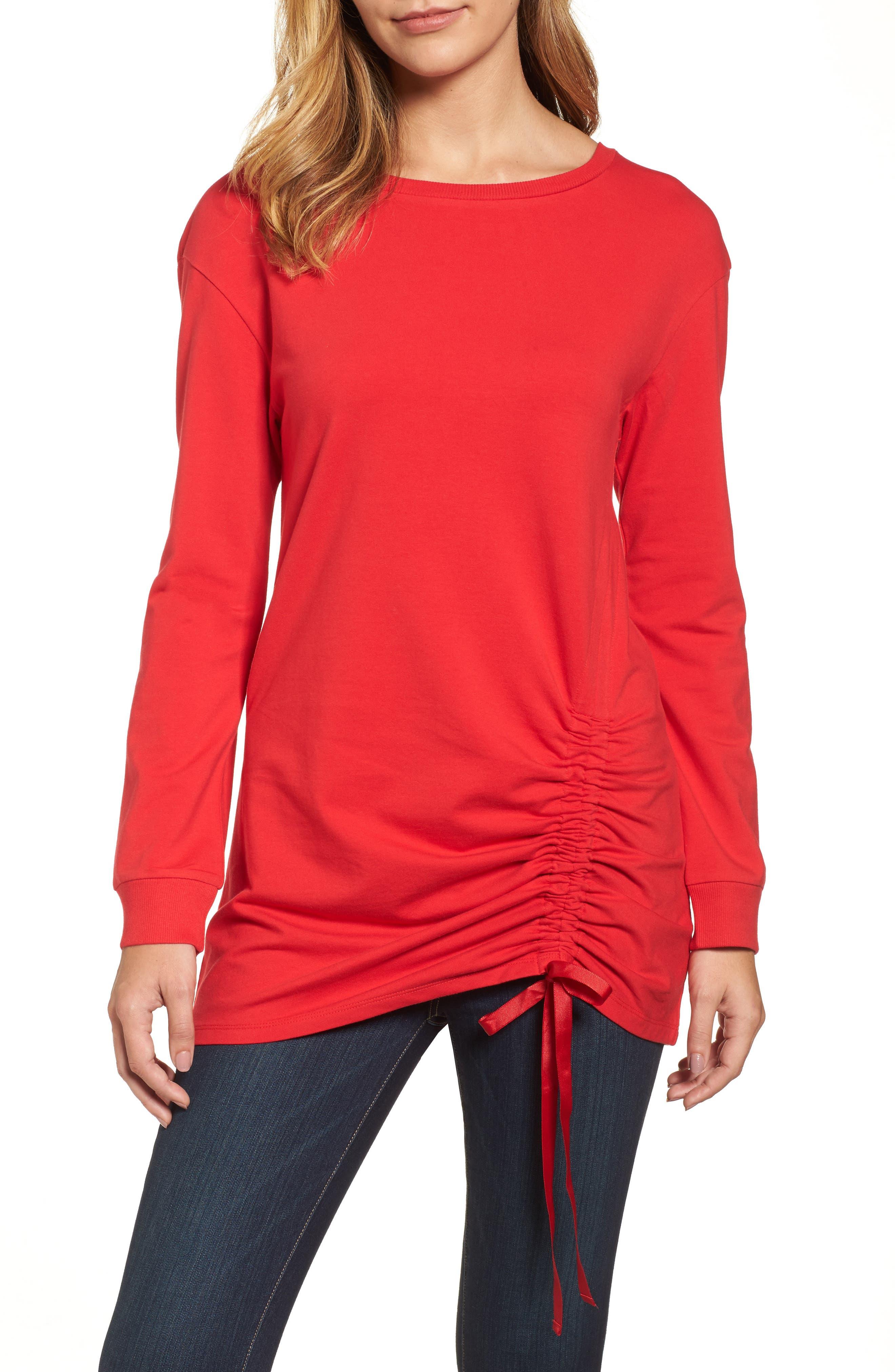 Halogen® Ruched Front Tunic Sweatshirt (Regular & Petite)
