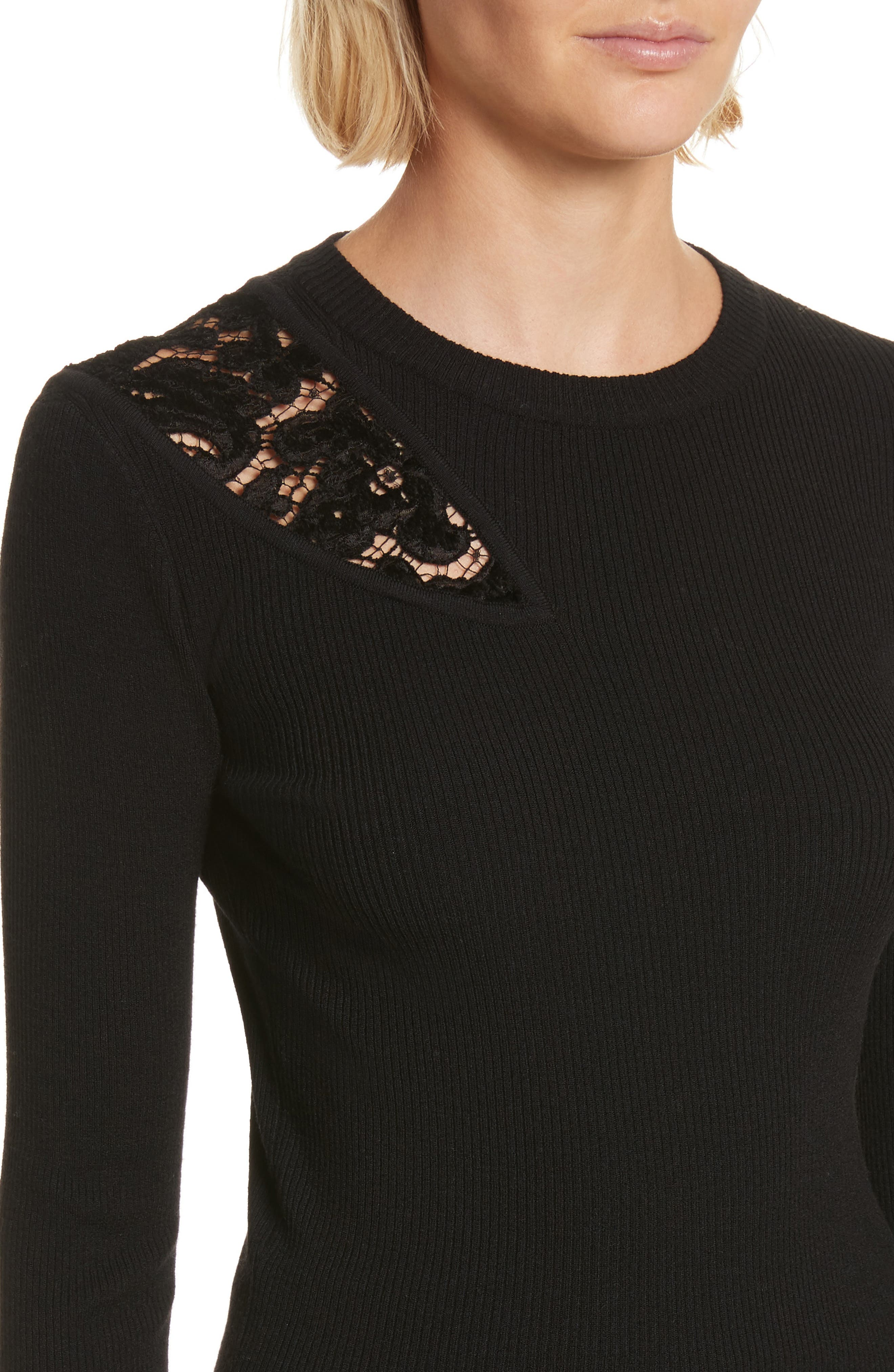 Terence Lace Inset Sweater,                             Alternate thumbnail 4, color,                             Black