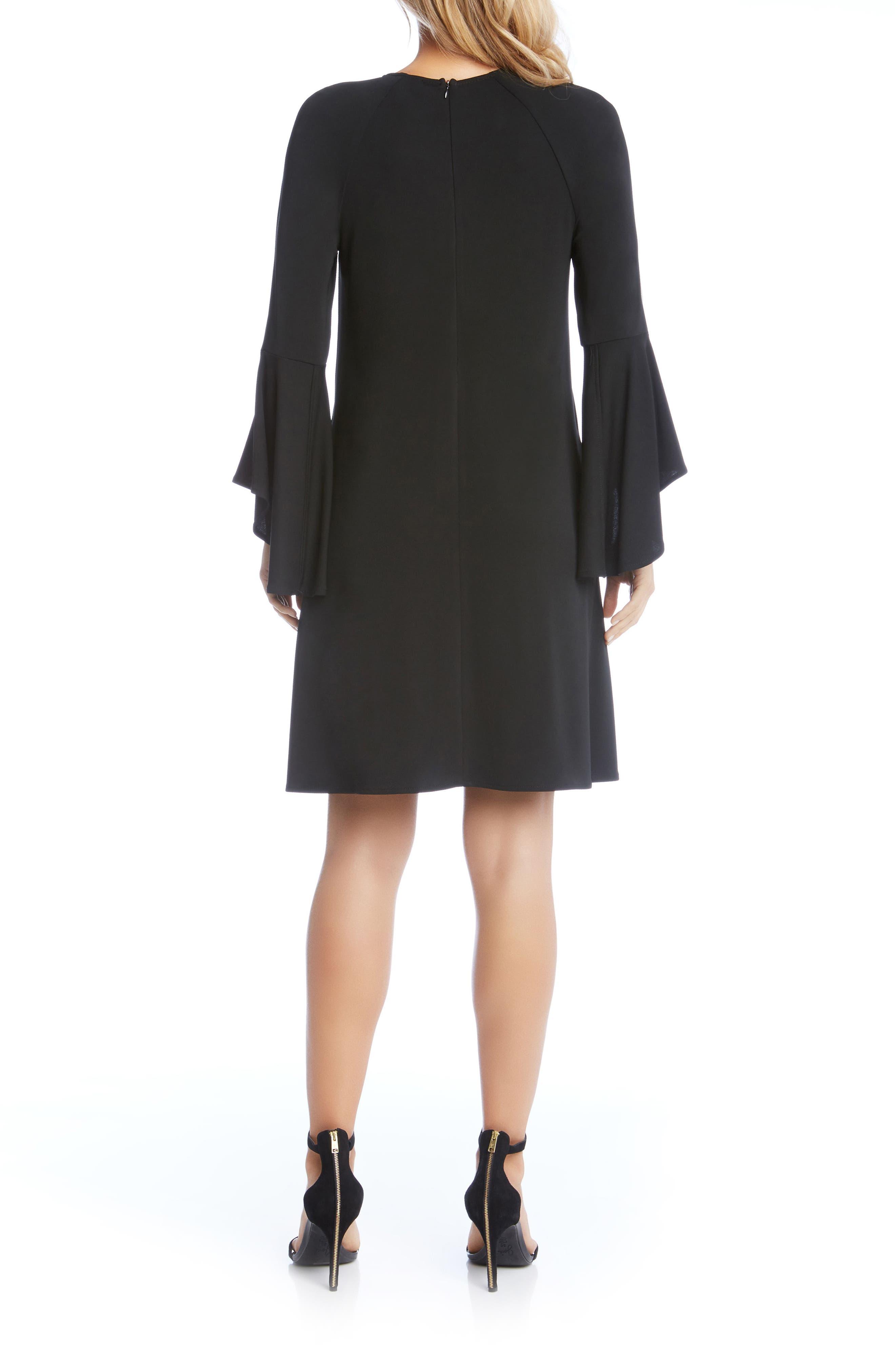 Bell Cuff Swing Dress,                             Alternate thumbnail 2, color,                             Black