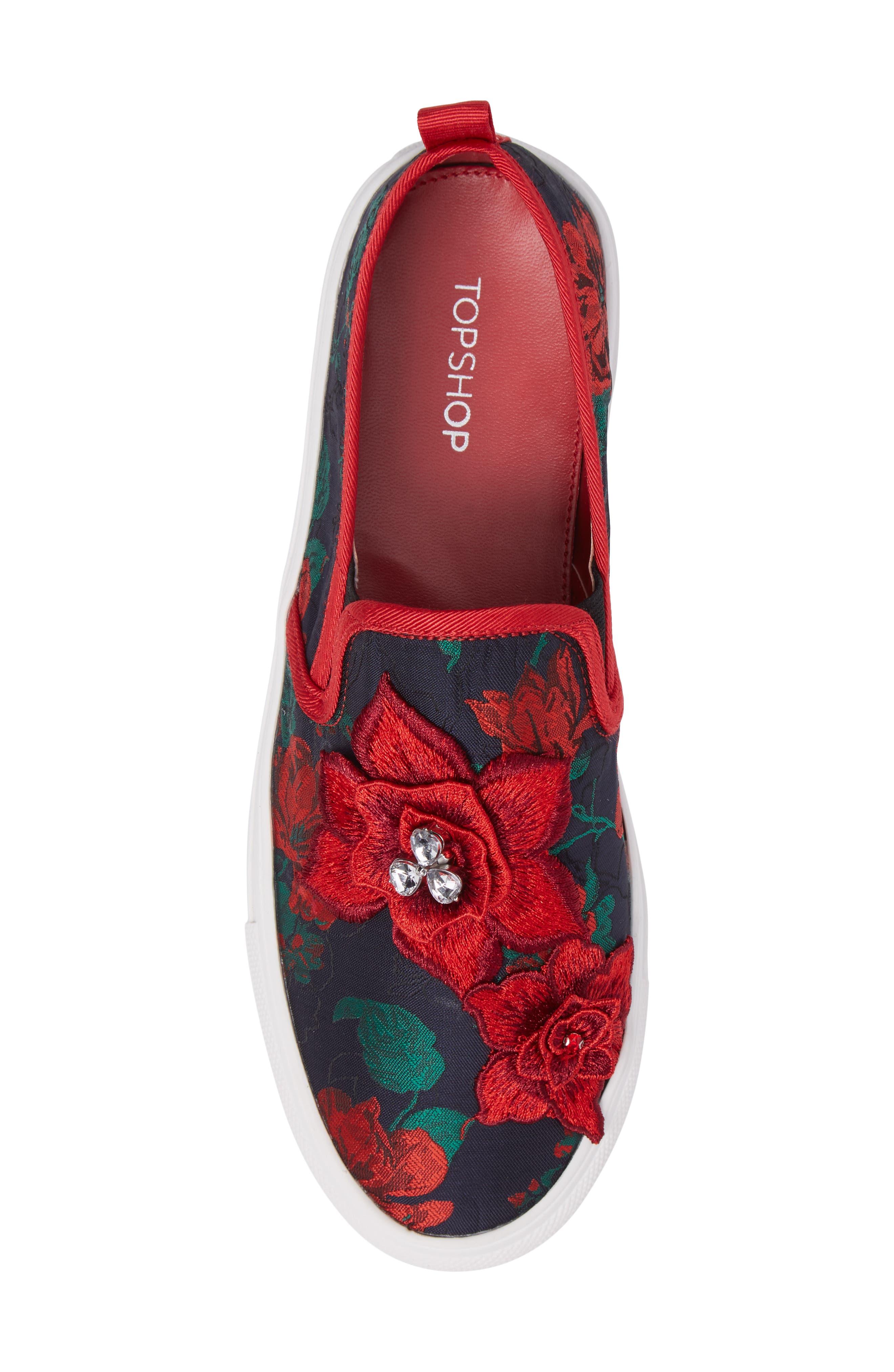 Alternate Image 5  - Topshop Tessa Embroidered Slip-On Sneaker (Women)