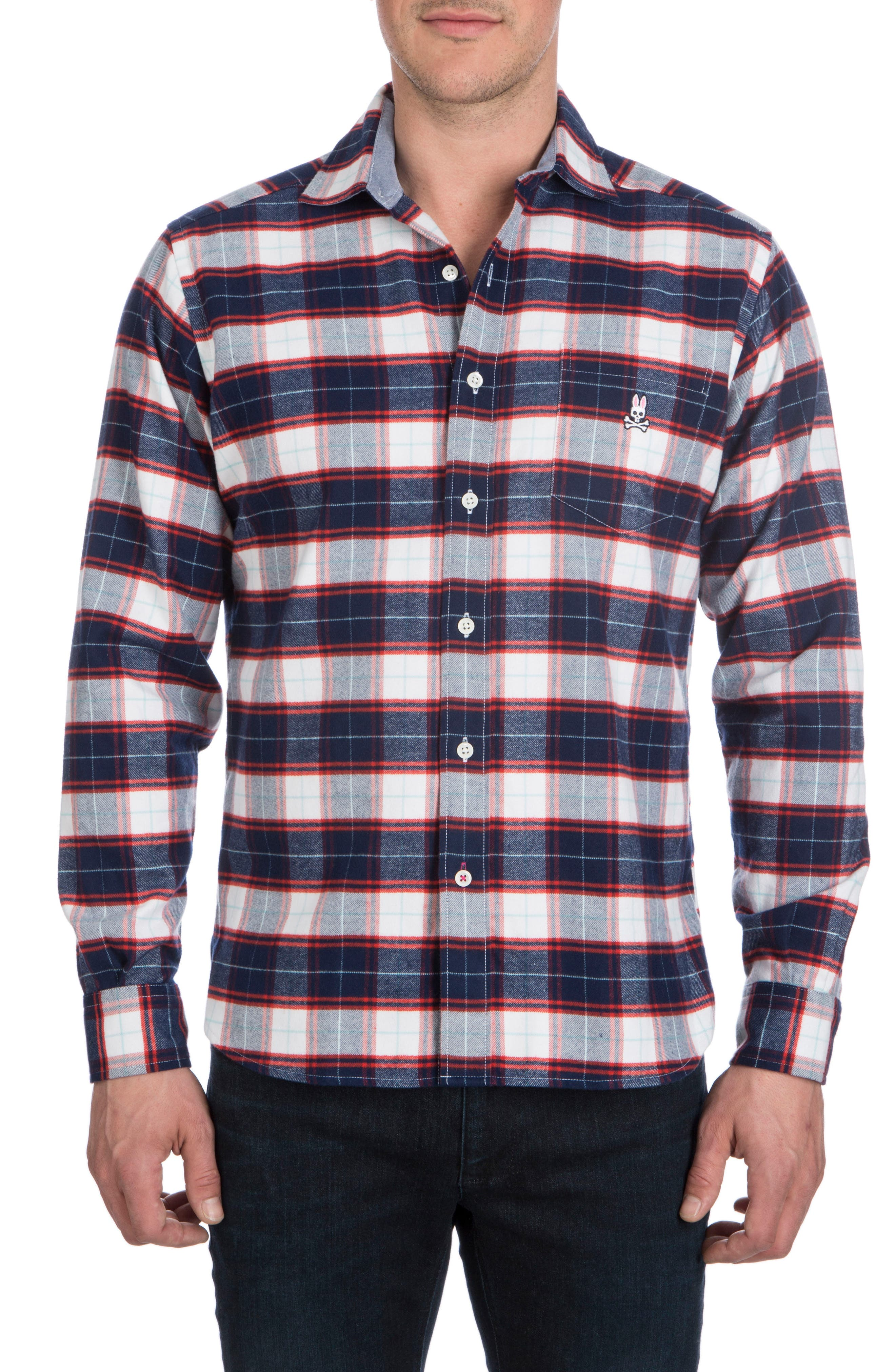 Flannel Sport Shirt,                         Main,                         color, Navy