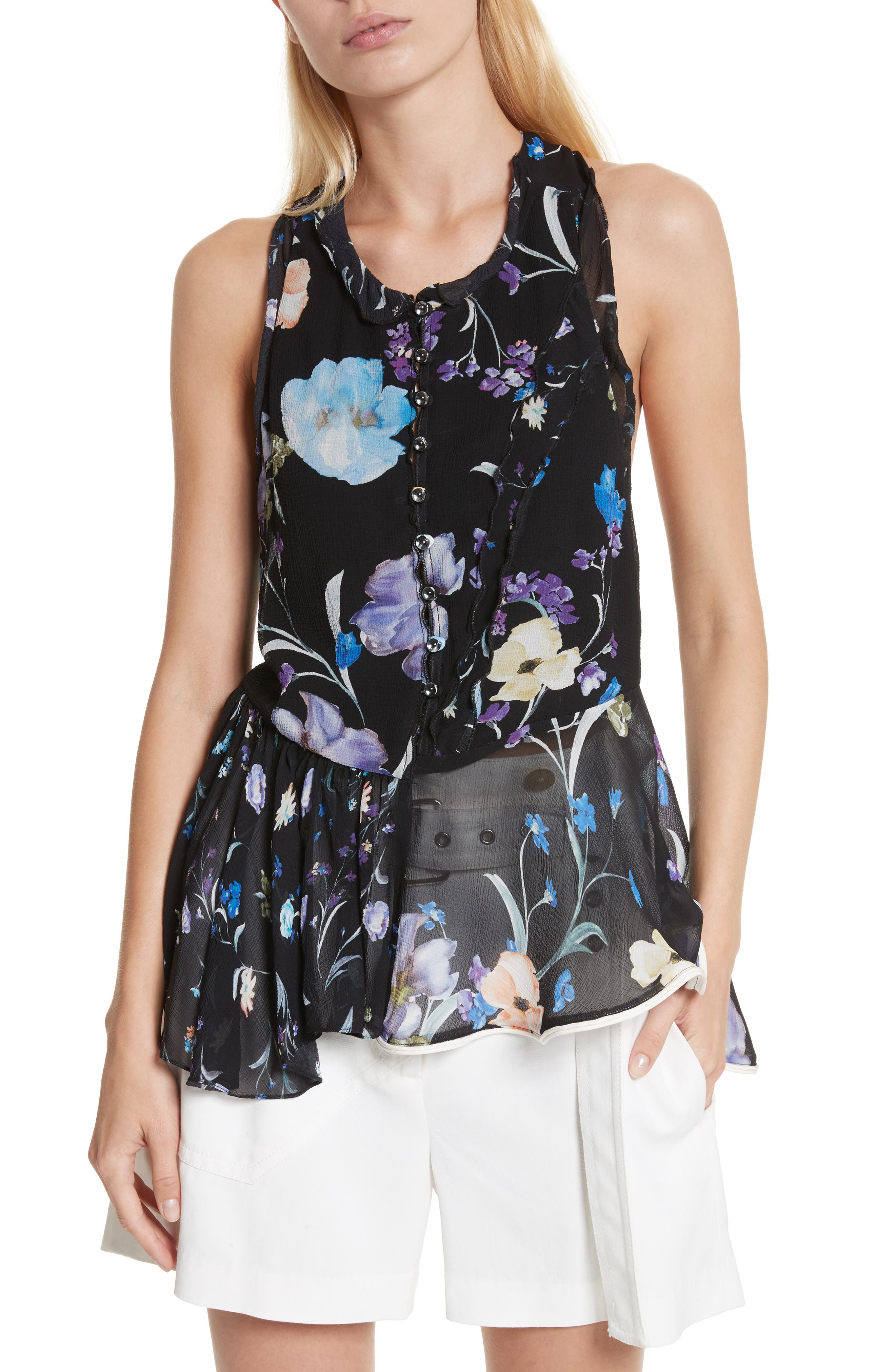 Ruffle Floral Silk Tank,                             Main thumbnail 1, color,                             Black