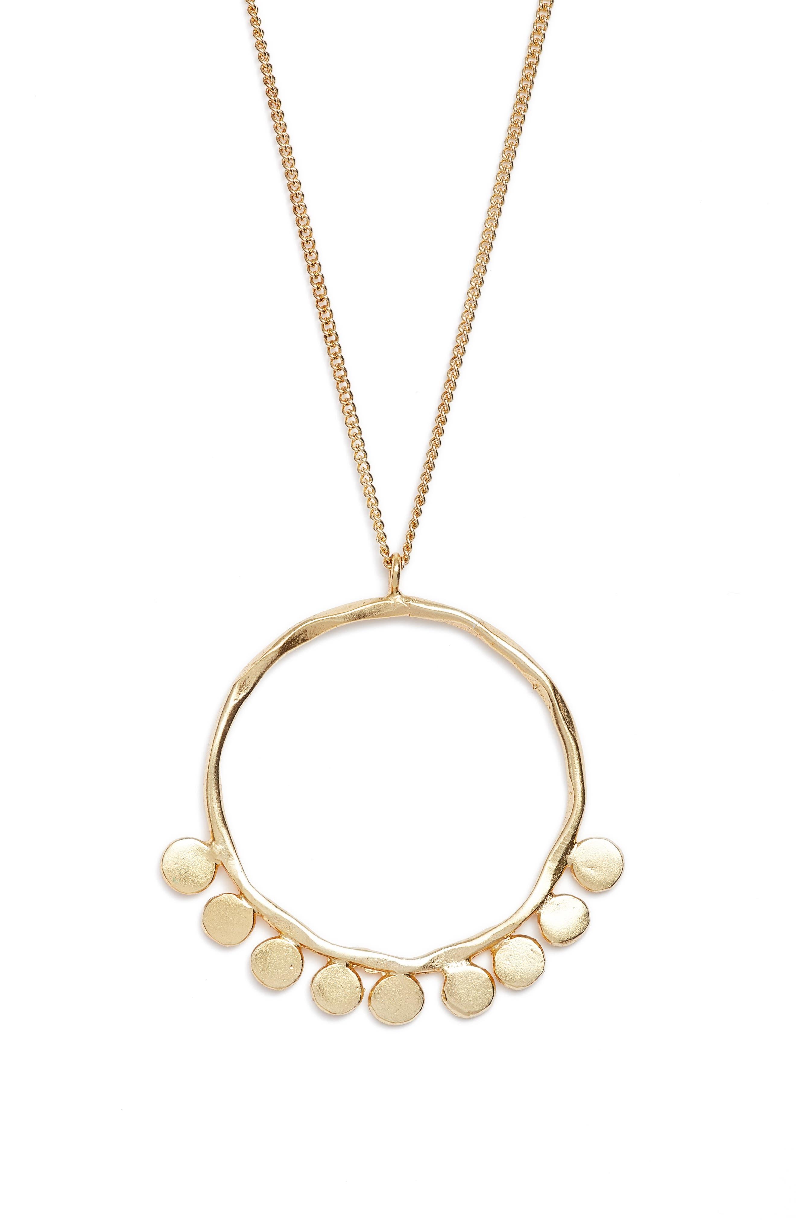 Pebble Pendant Necklace,                             Alternate thumbnail 3, color,                             Gold