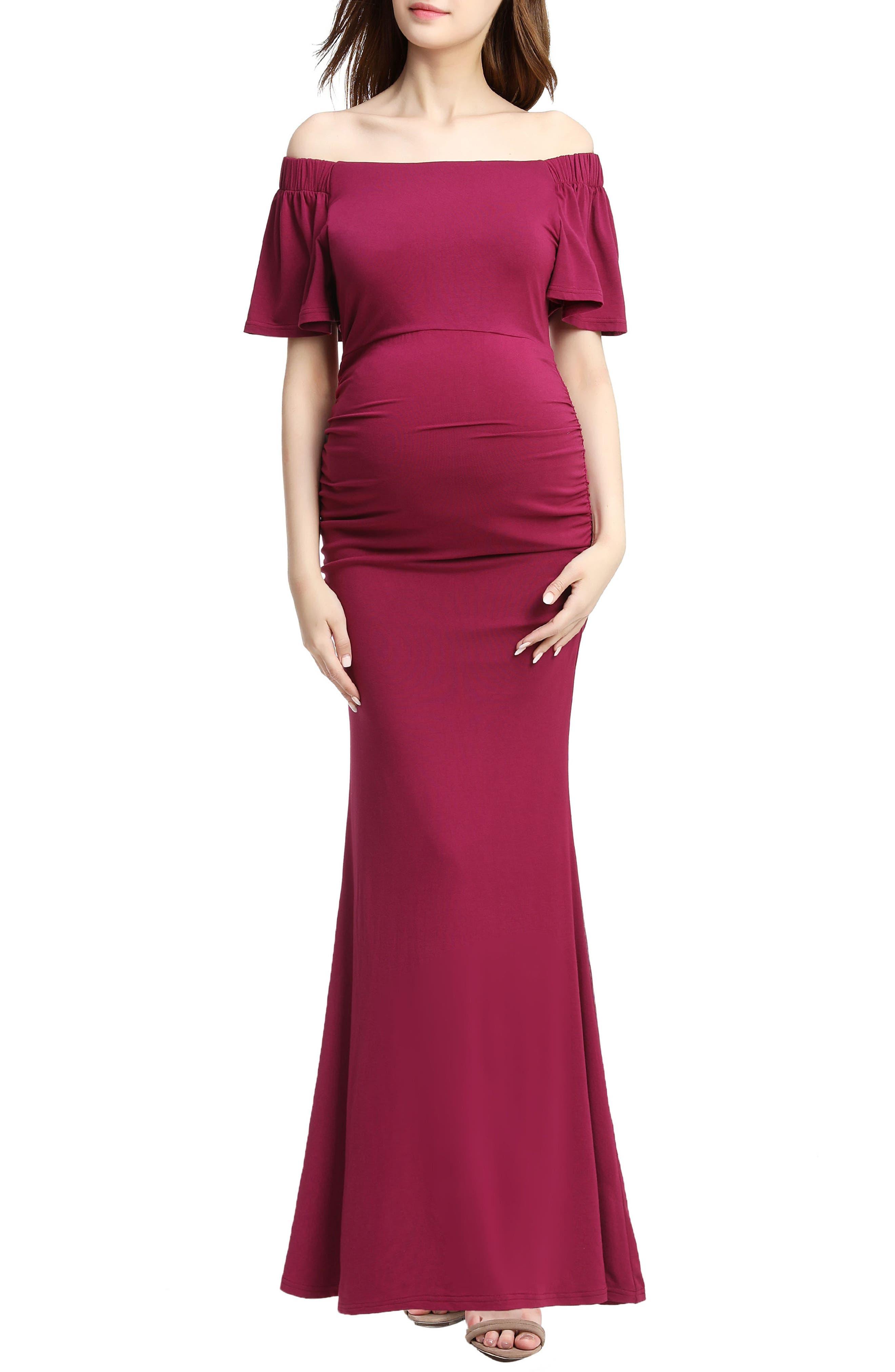 Abigail Off the Shoulder Maternity Dress,                             Main thumbnail 1, color,                             Berry