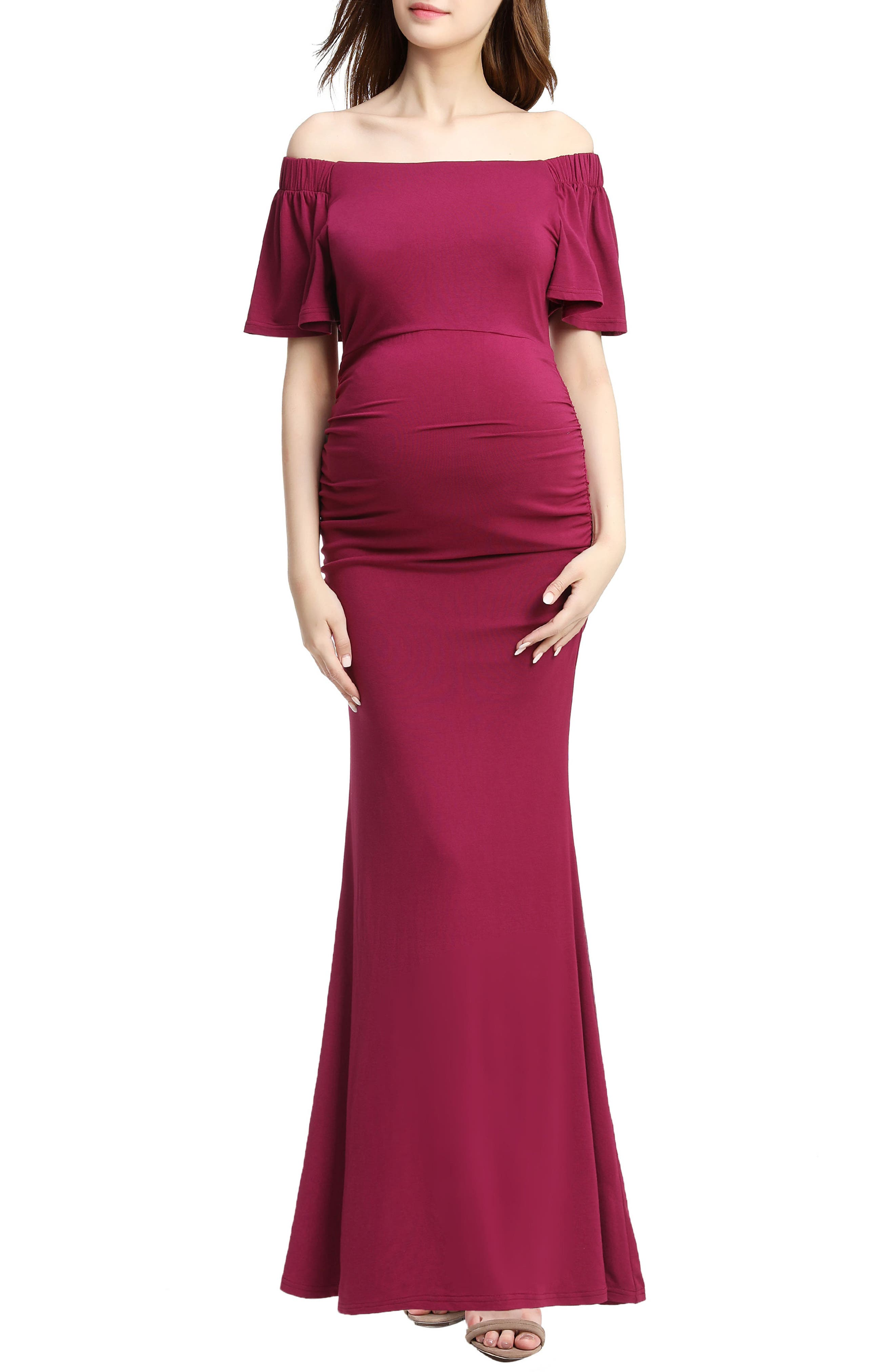 Abigail Off the Shoulder Maternity Dress,                         Main,                         color, Berry