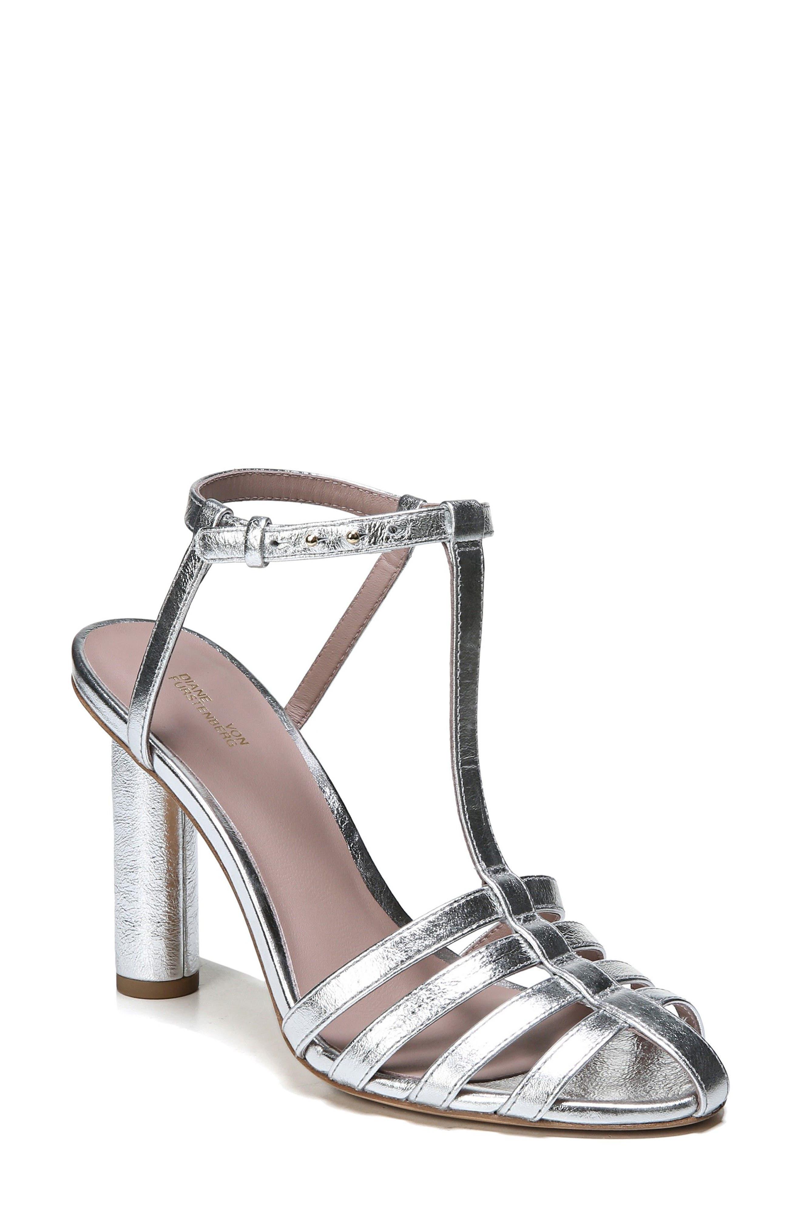 Eva T-Strap Sandal,                         Main,                         color, Metallic Silver