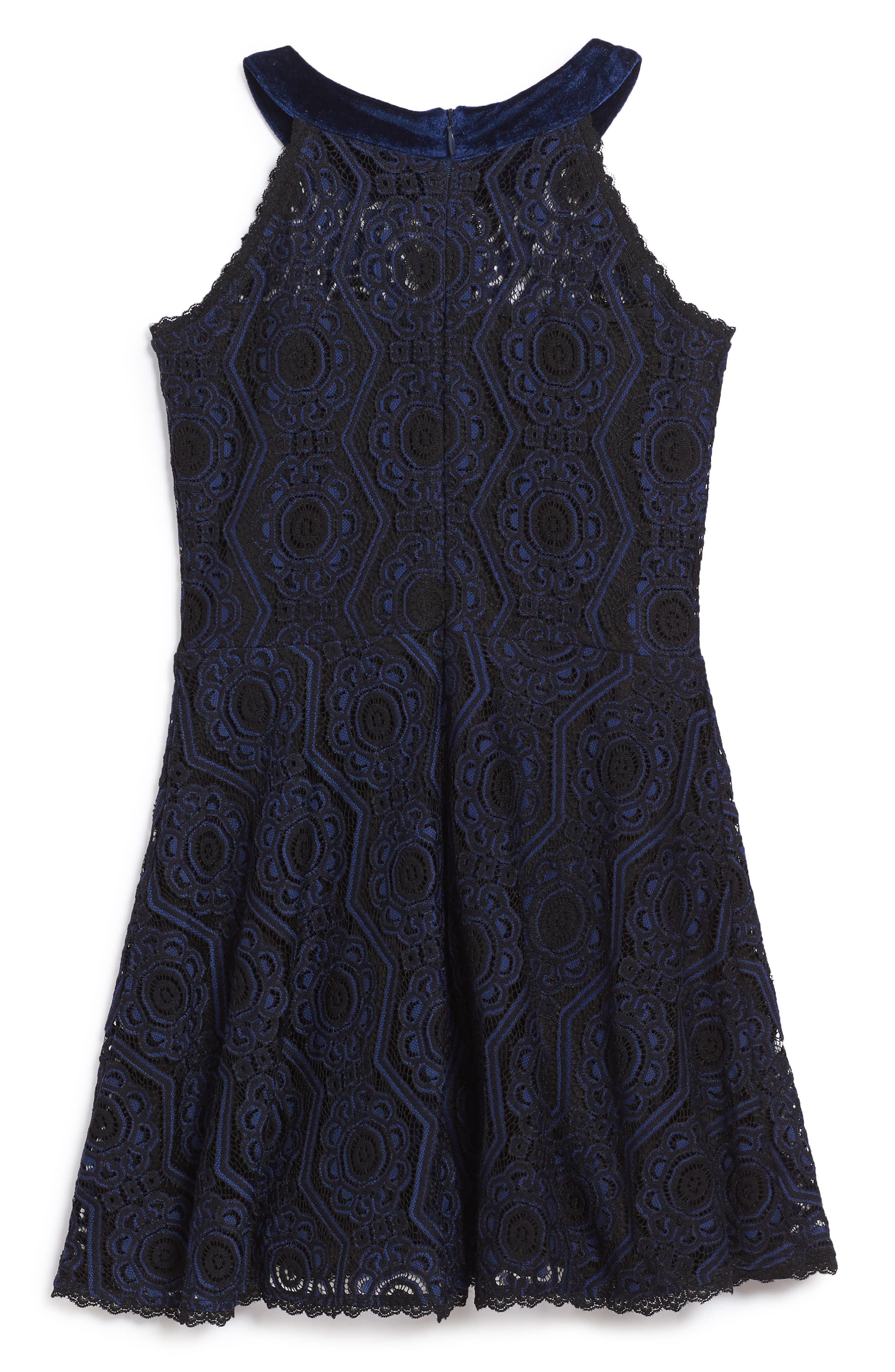 Alternate Image 2  - Elisa B Lace Skater Dress (Big Girls)