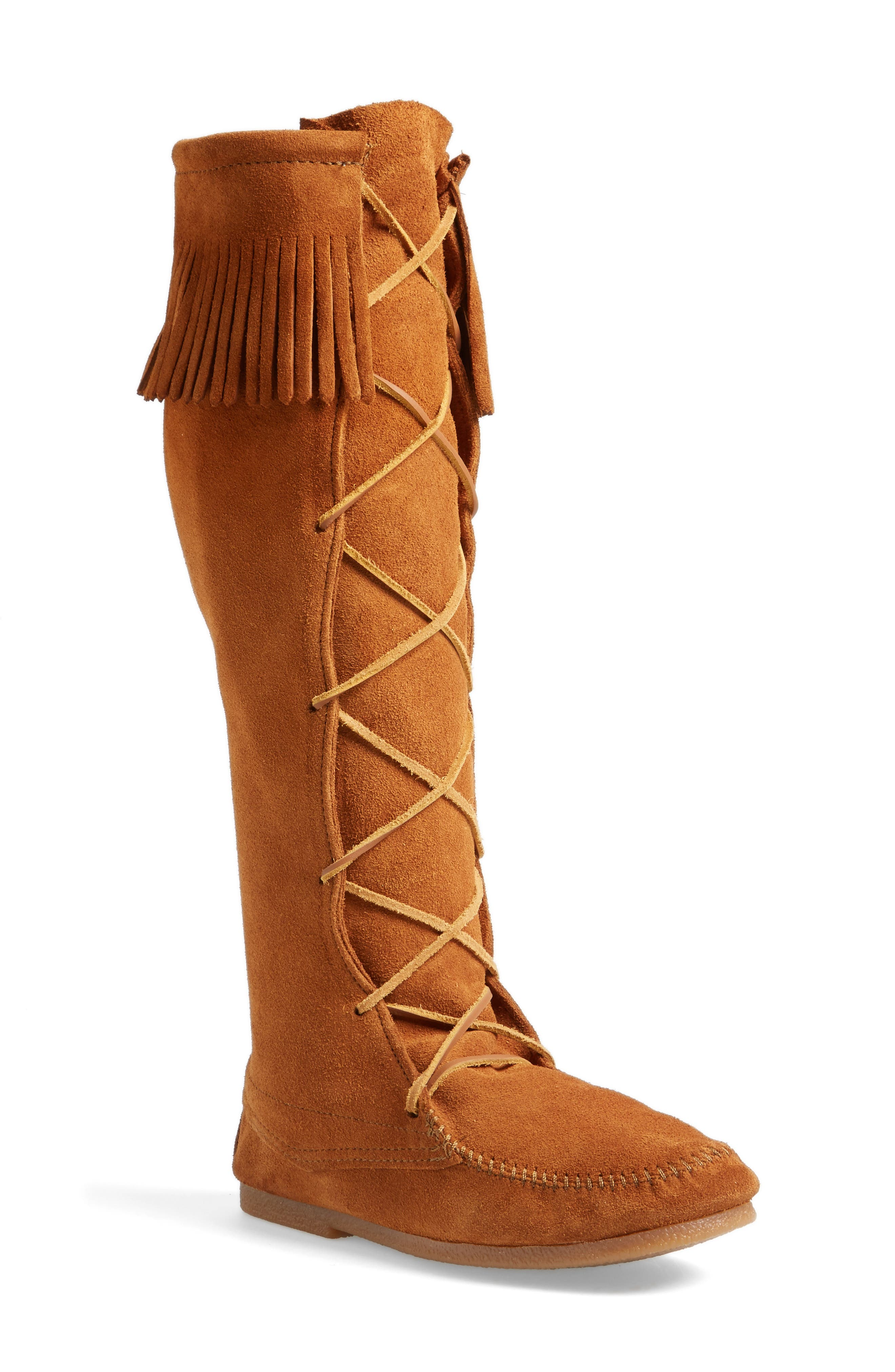 Knee High Moccasin Boot,                             Main thumbnail 1, color,                             Brown Suede