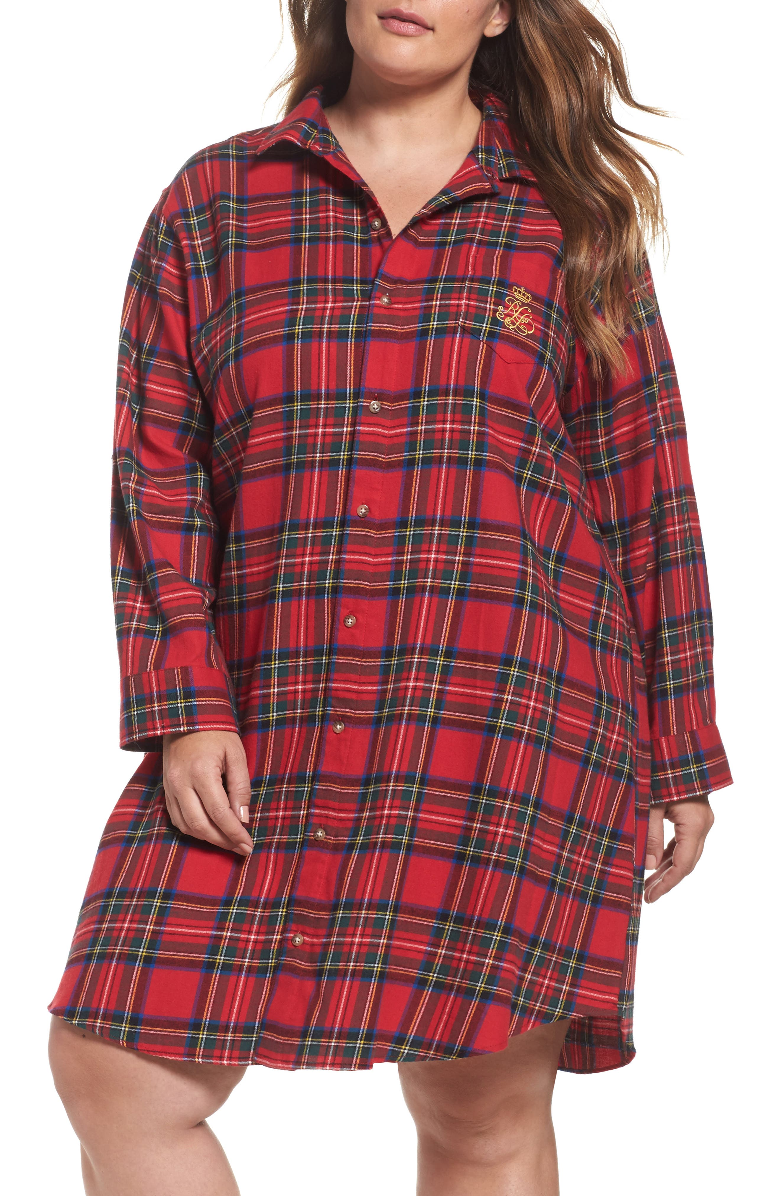 Lauren Ralph Lauren Flannel Sleep Shirt (Plus Size)