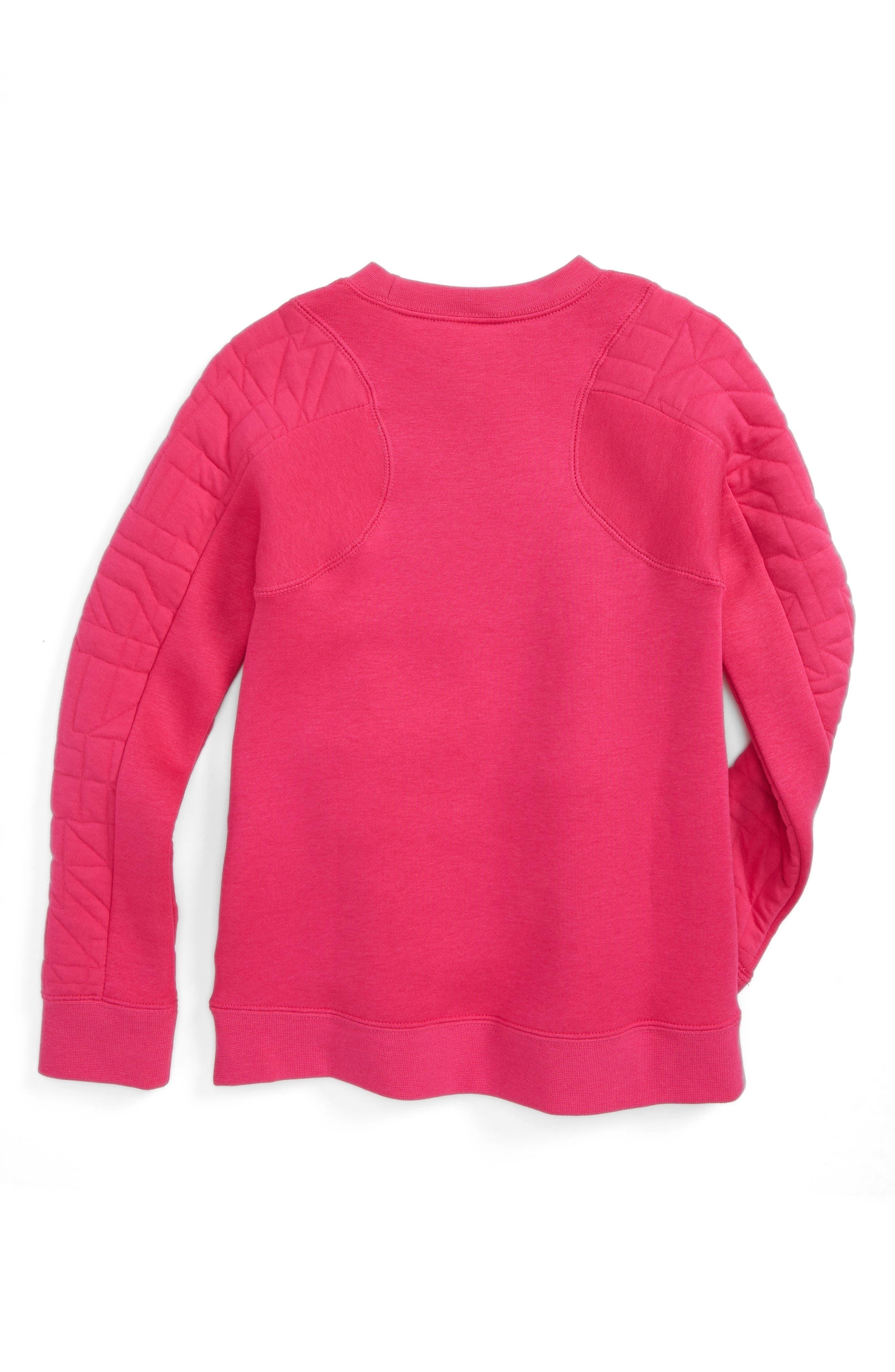 Alternate Image 2  - Nike Modern Matelassé Sweatshirt (Big Girls)
