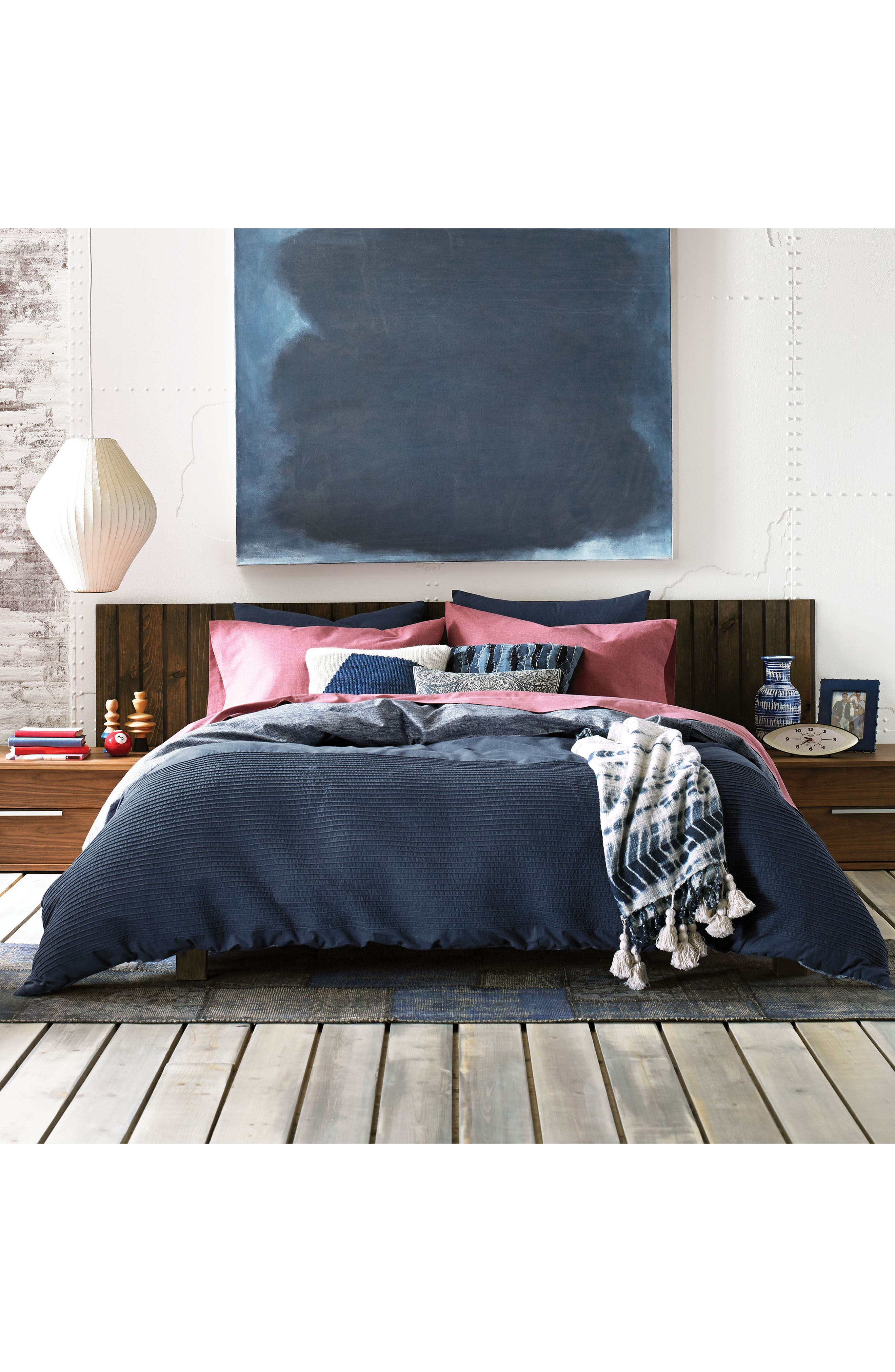 Colorblock Knit Accent Pillow,                             Alternate thumbnail 2, color,                             Blue/ Grey Multi