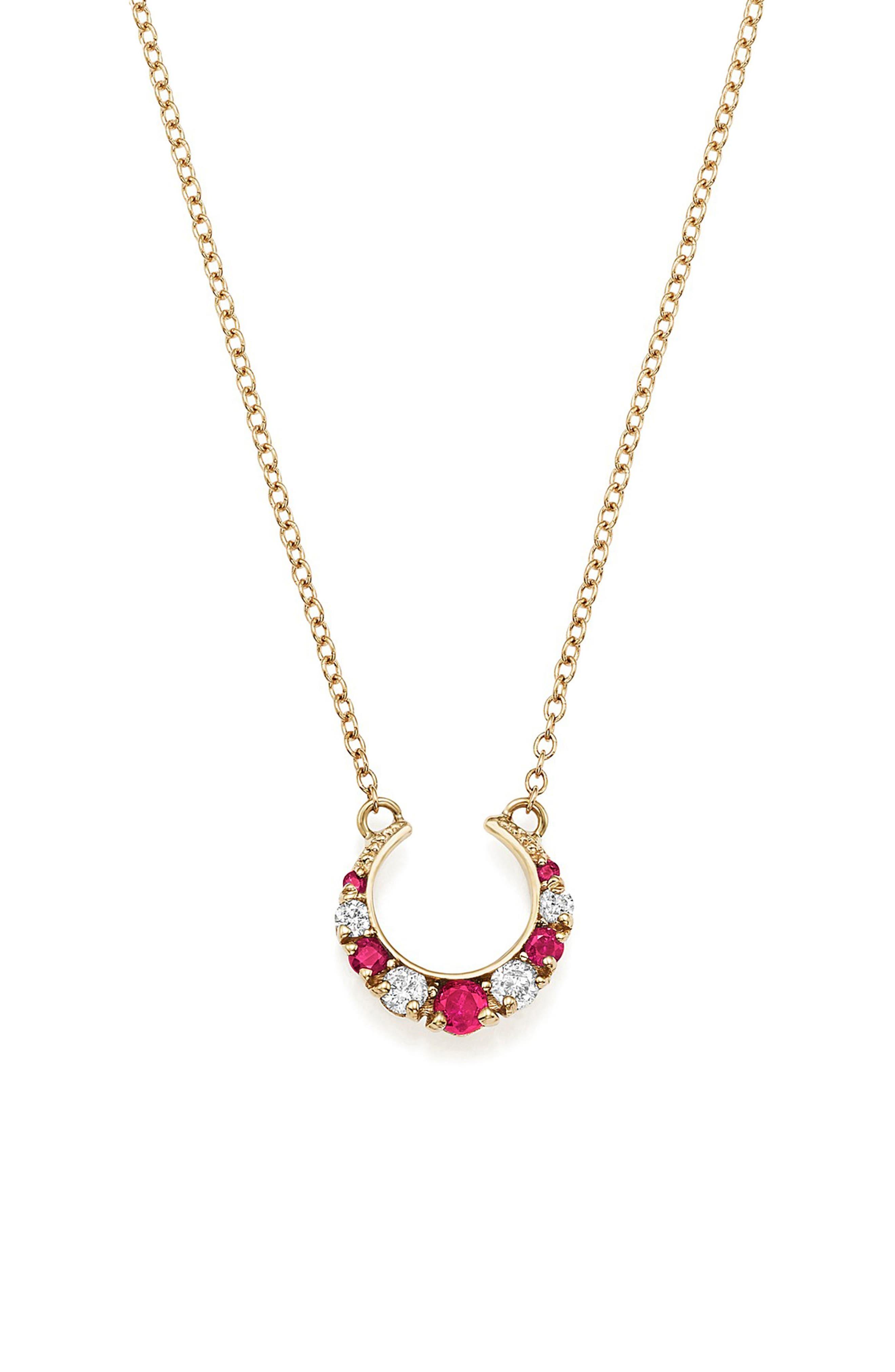 x Stone Fox Gem Pendant Necklace,                         Main,                         color, Rose Gold