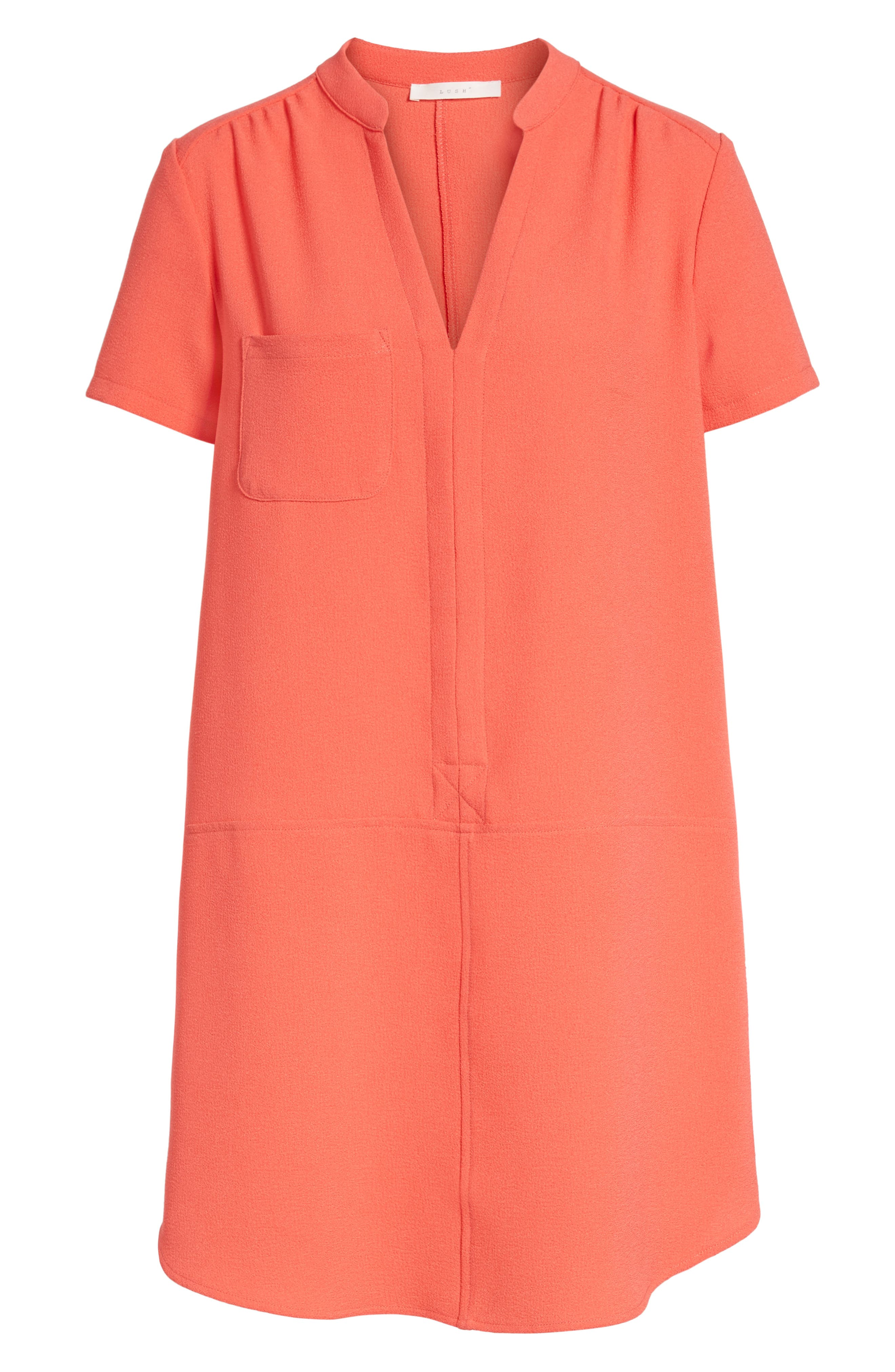 Hailey Crepe Dress,                             Alternate thumbnail 6, color,                             Hot Coral
