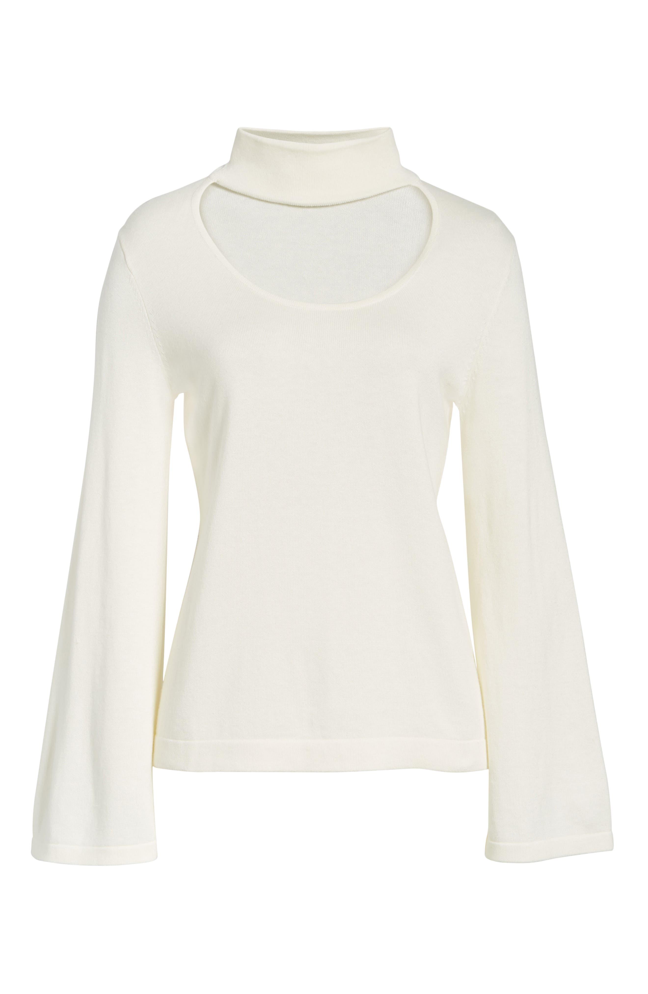 Bell Sleeve Choker Neck Sweater,                             Alternate thumbnail 5, color,                             Antique White