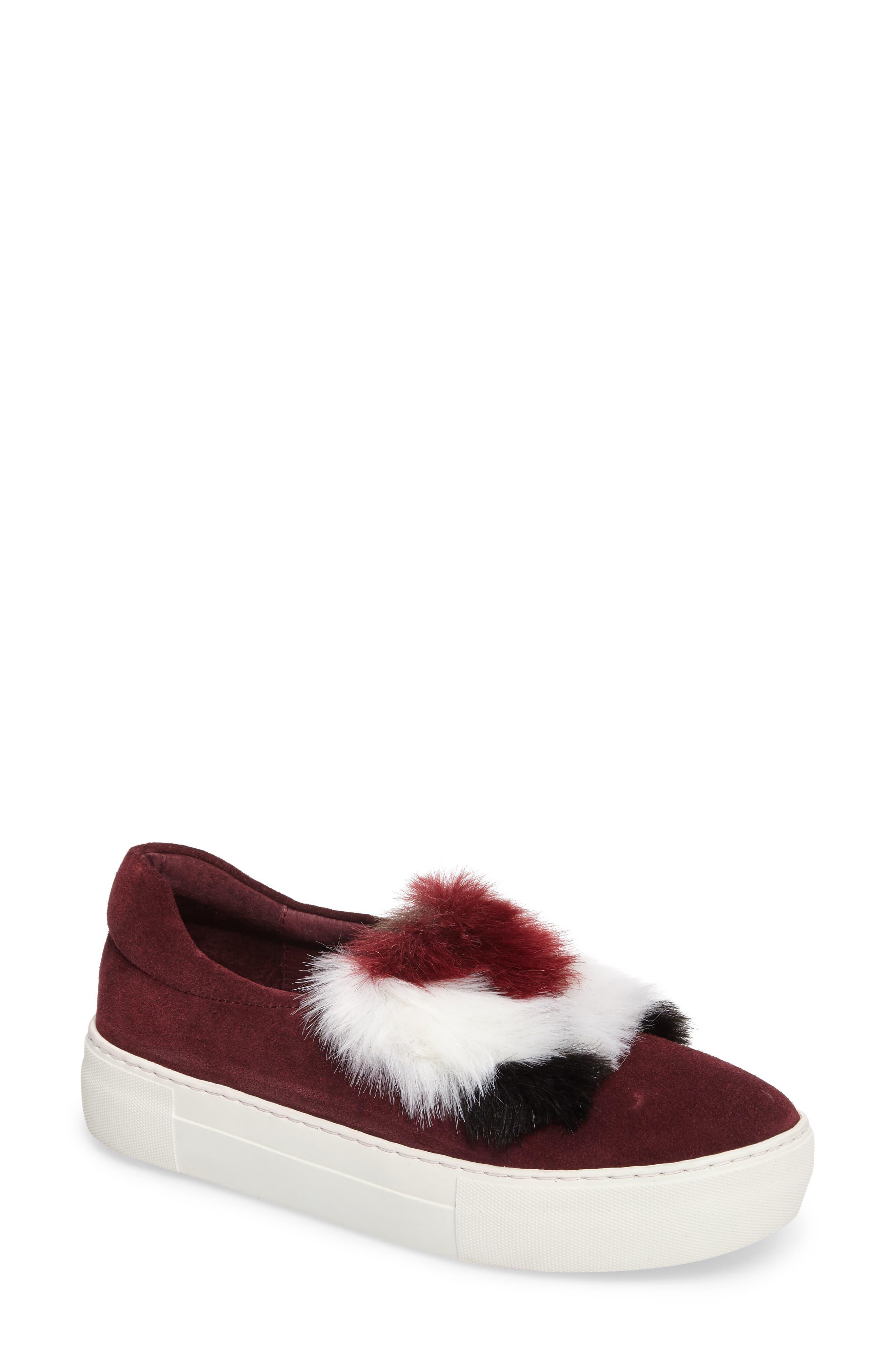 Alexi Faux Fur Slip-On Sneaker,                             Main thumbnail 1, color,                             Burgundy Suede