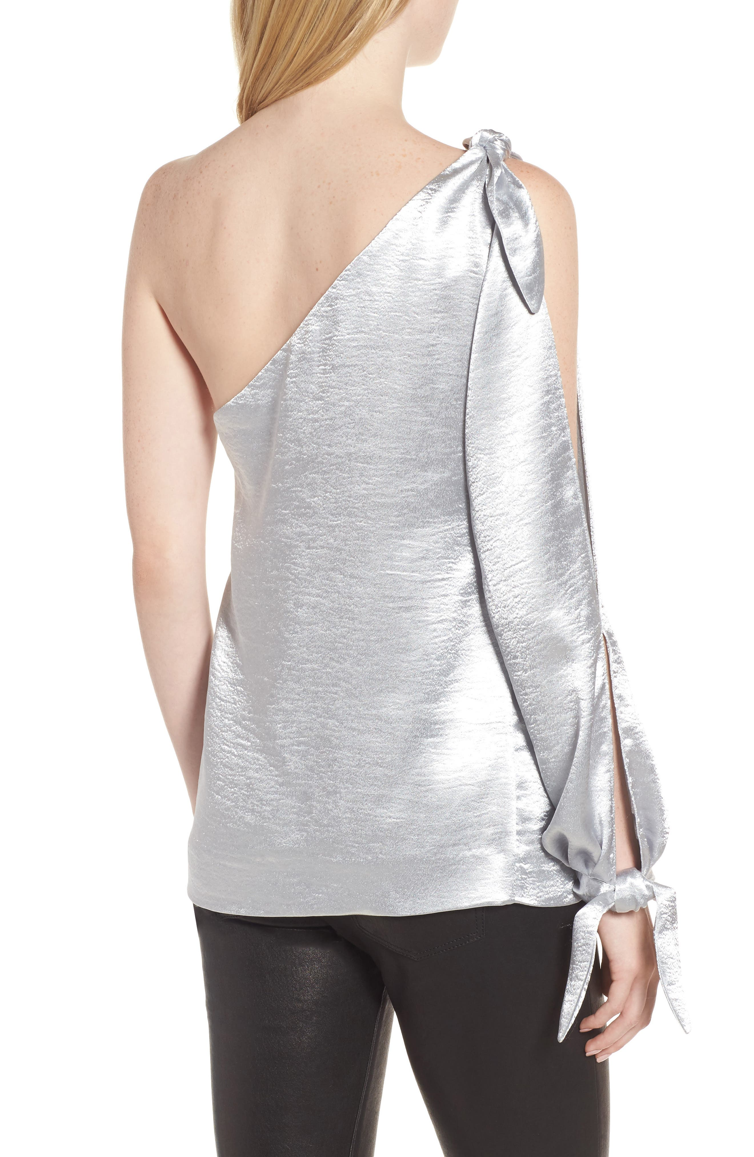 Nash One-Shoulder Blouse,                             Alternate thumbnail 2, color,                             Silver