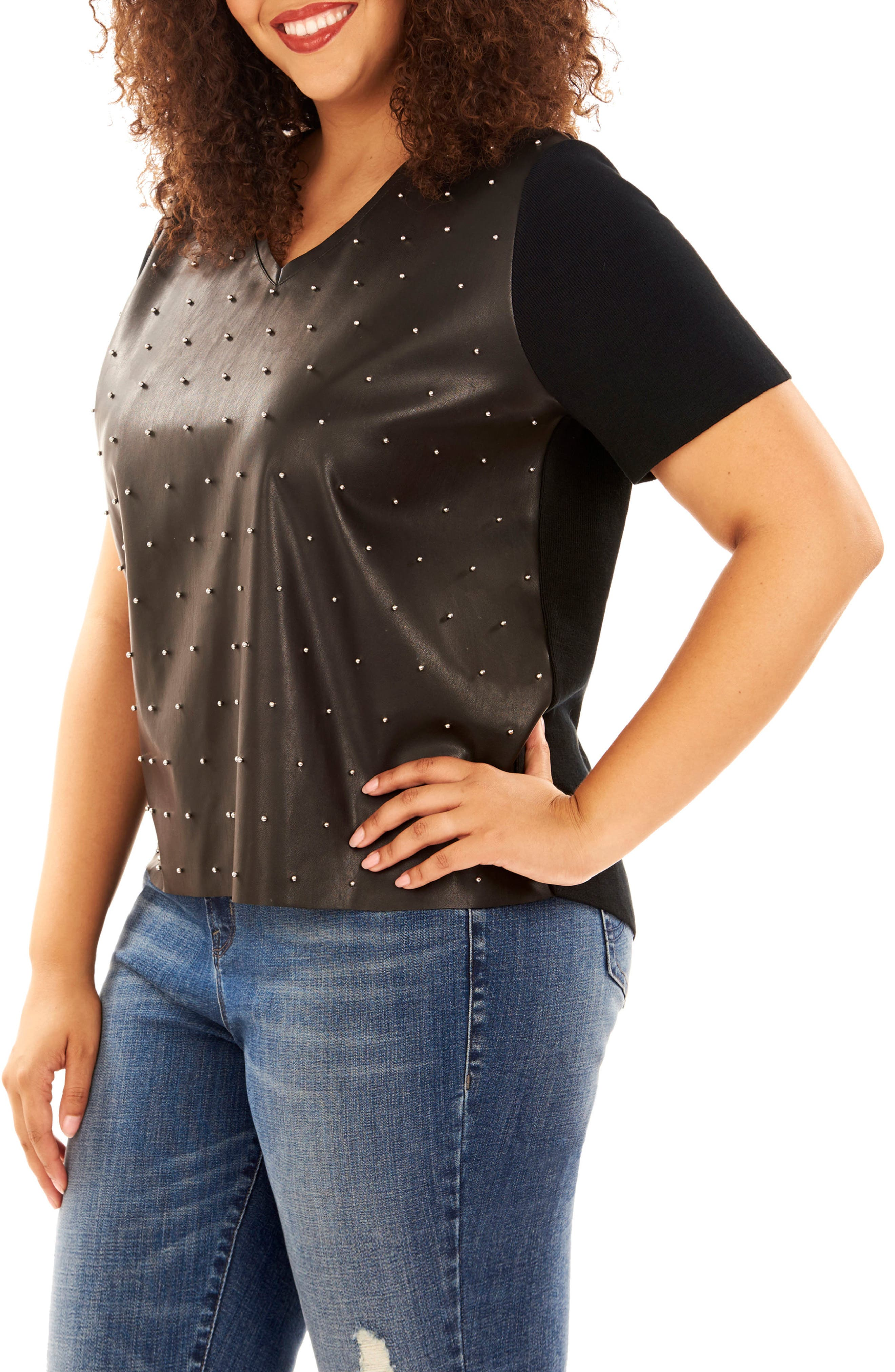 Studded Faux Leather Front Sweater,                         Main,                         color, Black Beauty