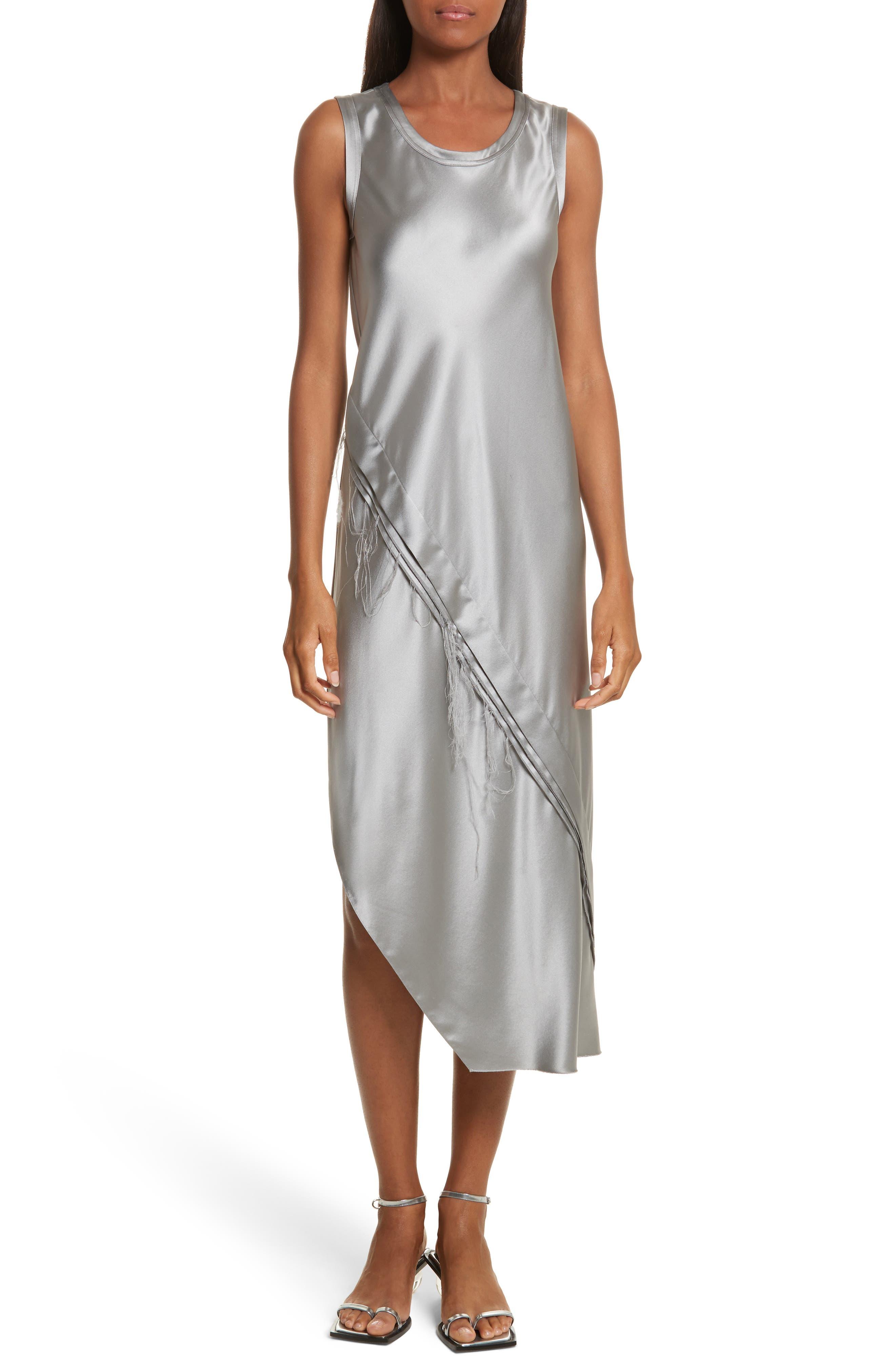 Lacquered Silk Asymmetrical Dress,                         Main,                         color, Grey Pebble