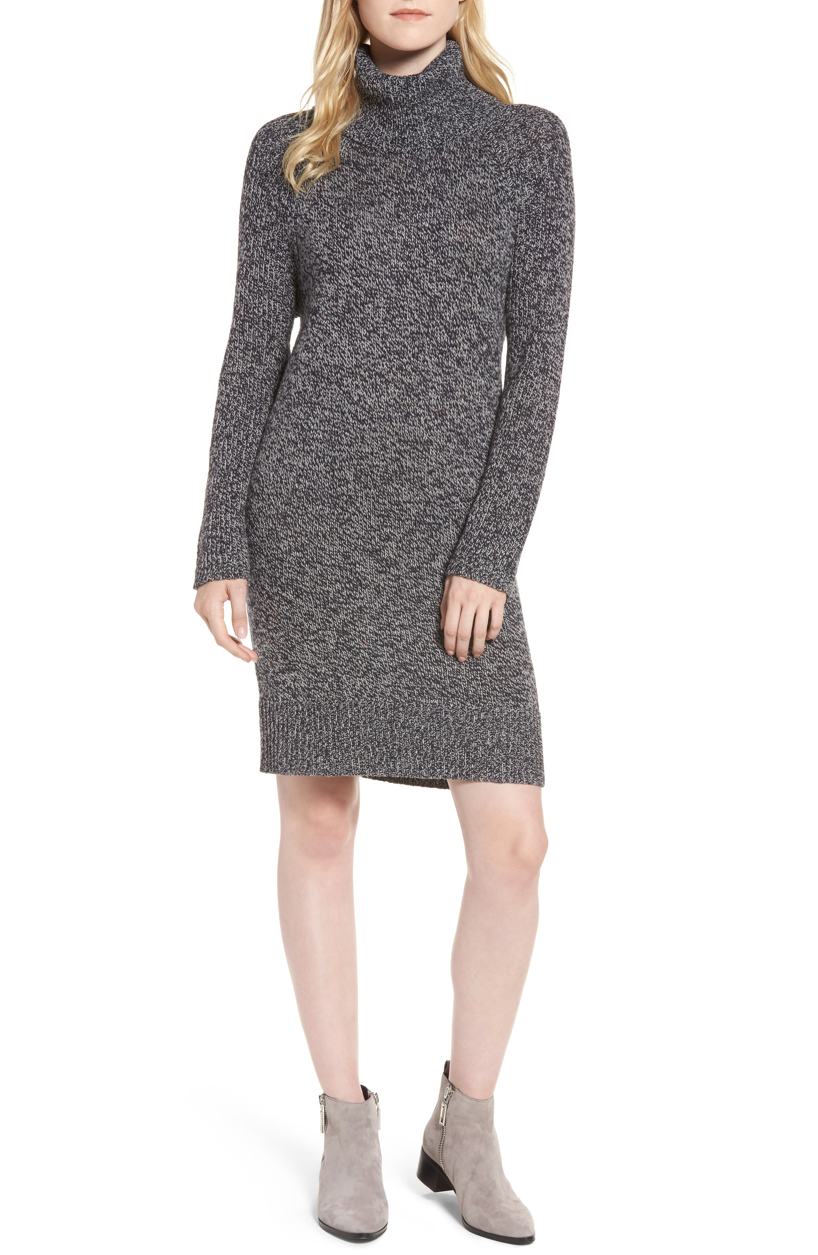 Turtleneck Sweater Dress,                         Main,                         color, Navy Grey Heather Neppy Marl