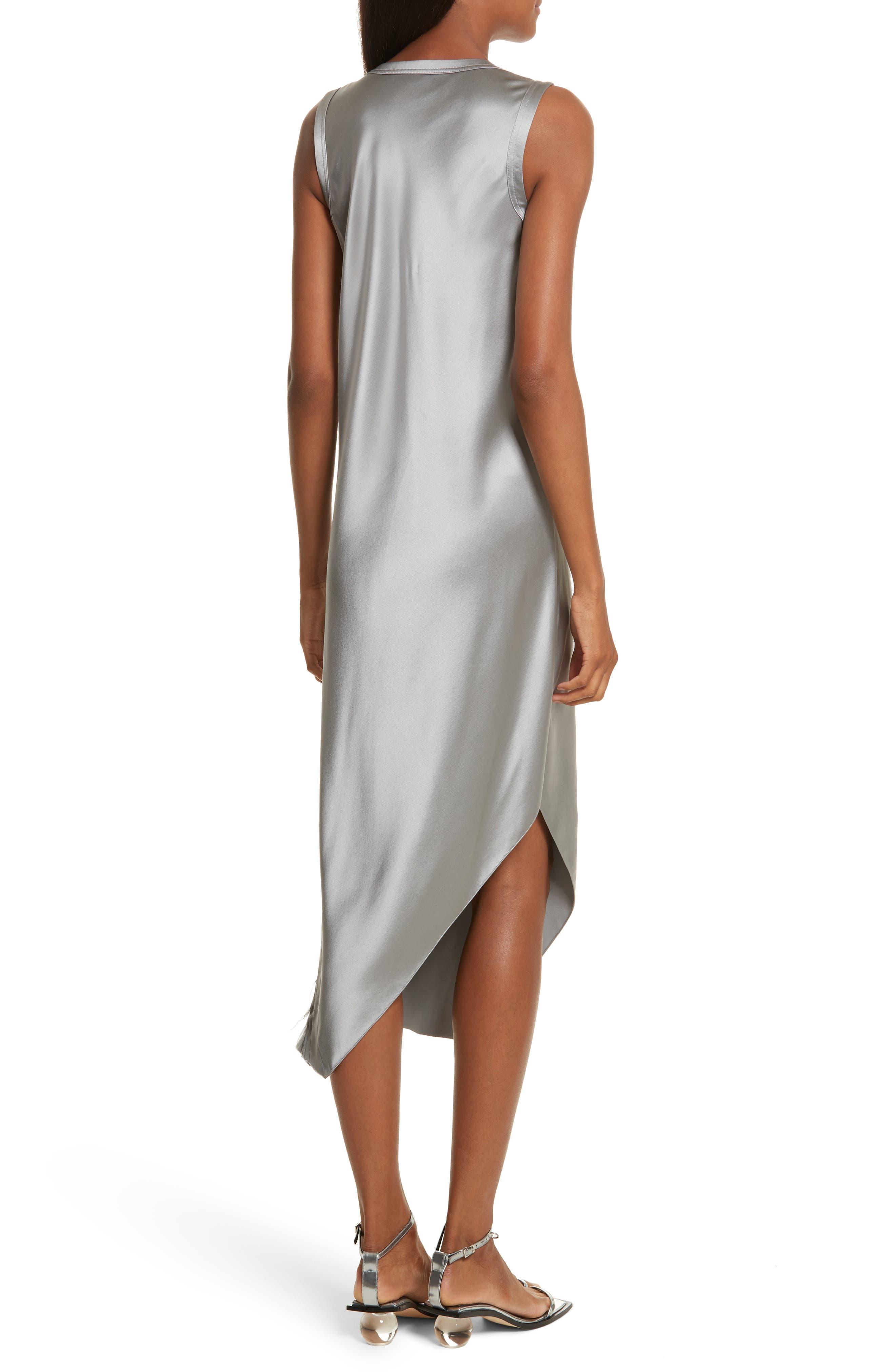 Lacquered Silk Asymmetrical Dress,                             Alternate thumbnail 2, color,                             Grey Pebble