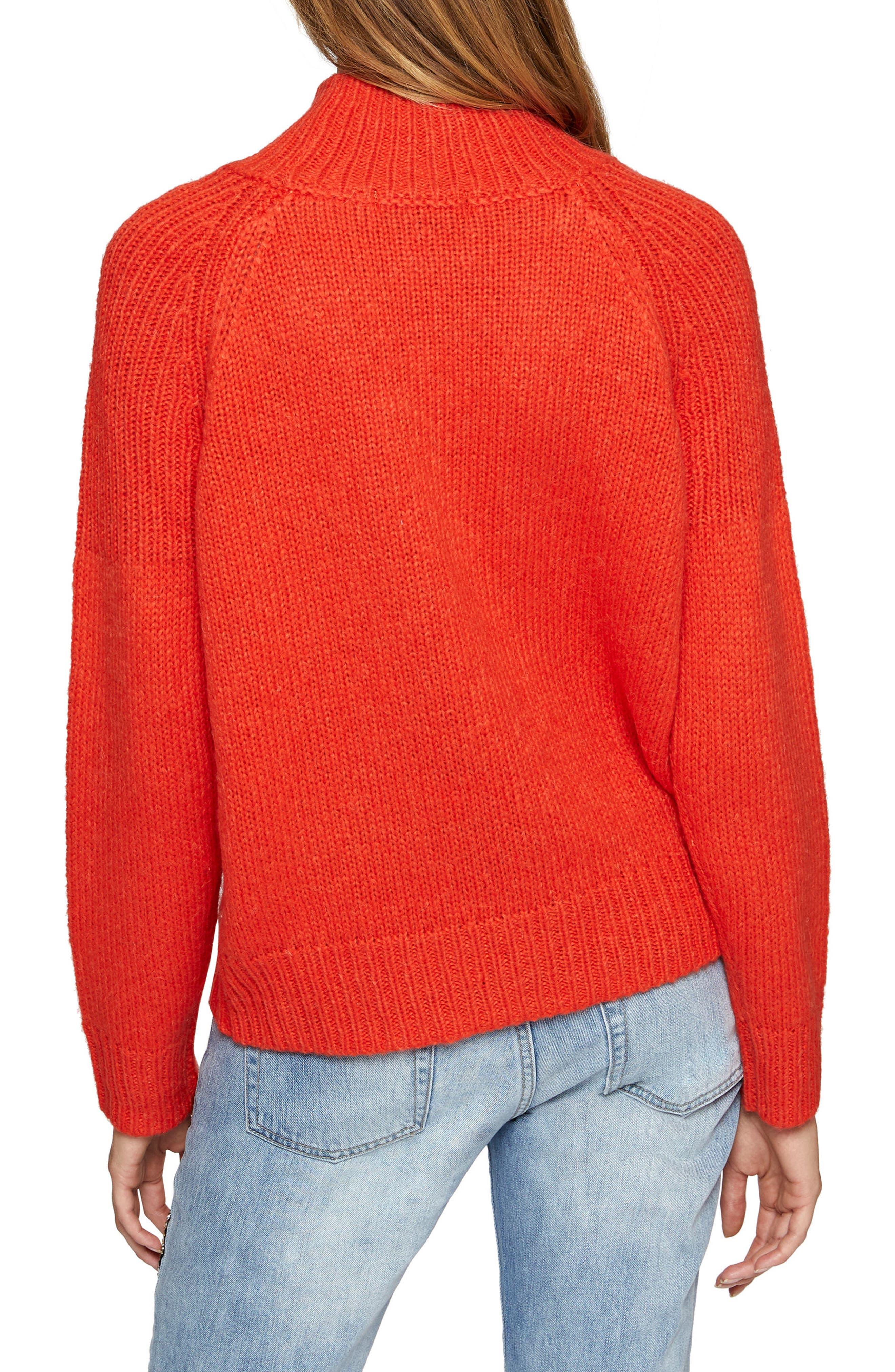 Fiona Cotton Blend Turtleneck,                             Alternate thumbnail 2, color,                             Orange Lacquer