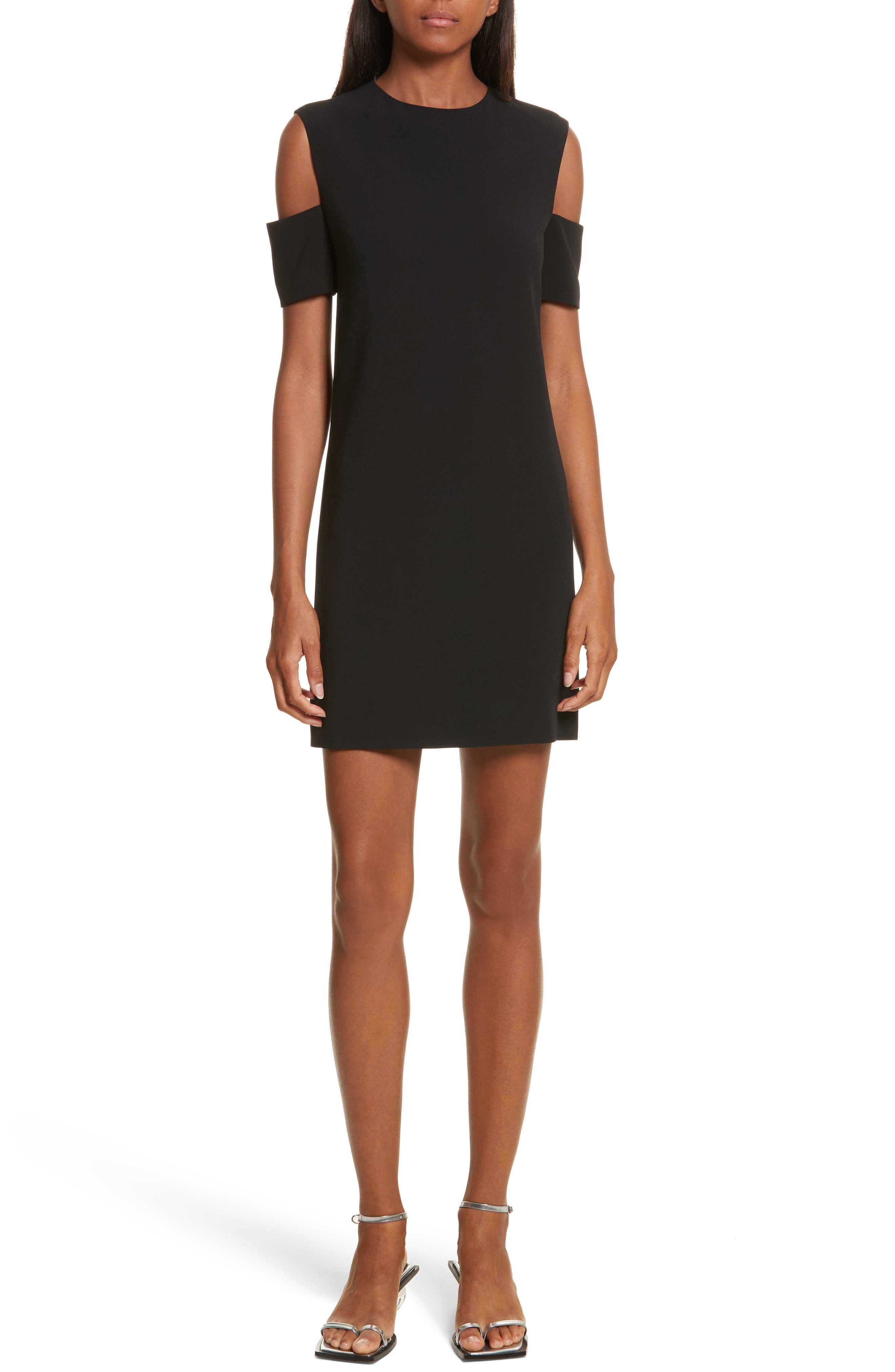 Cold Shoulder Shift Dress,                             Main thumbnail 1, color,                             Black