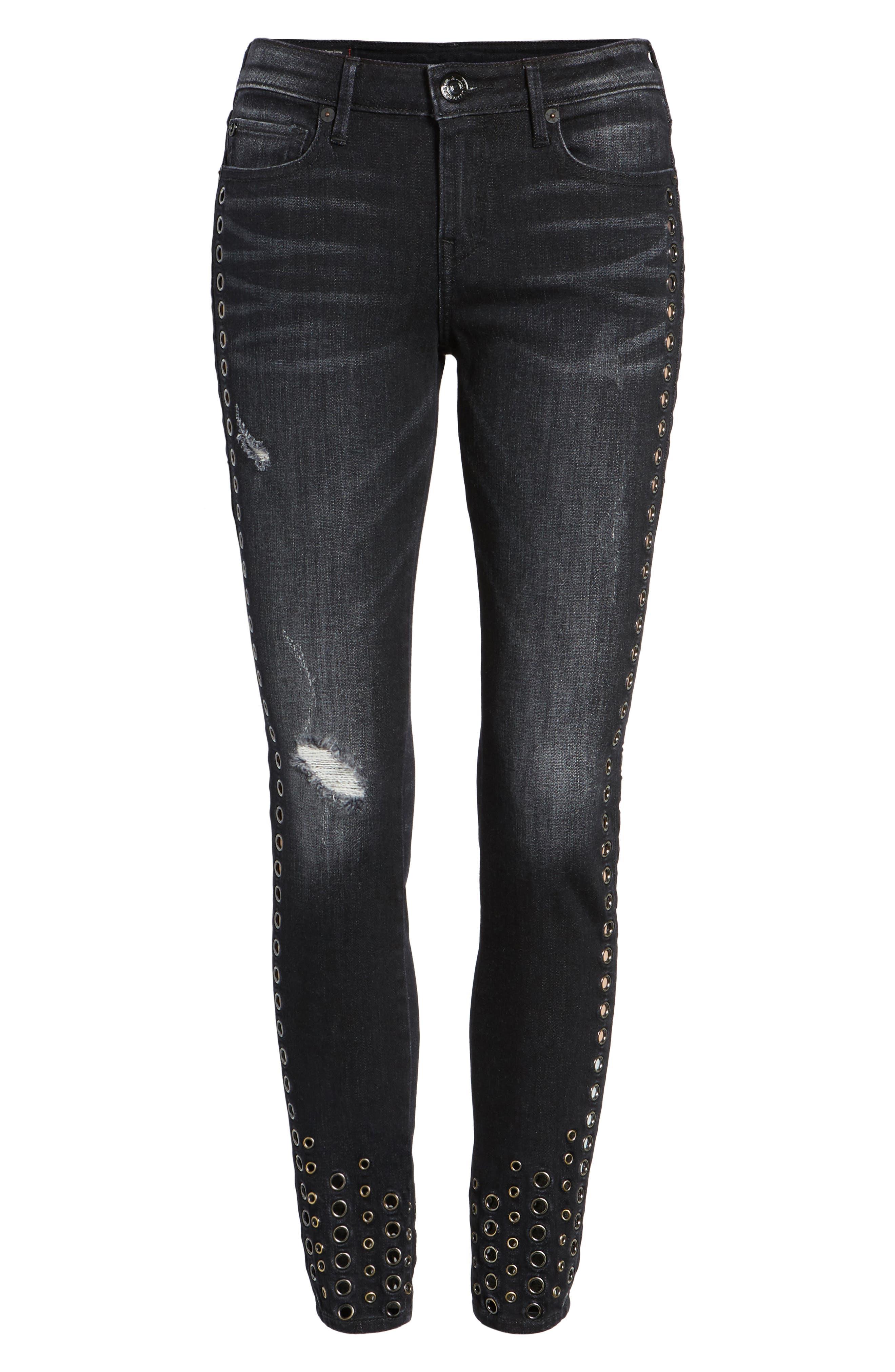 Halle Ankle Super Skinny Jeans,                             Alternate thumbnail 6, color,                             Rock Solid Wash